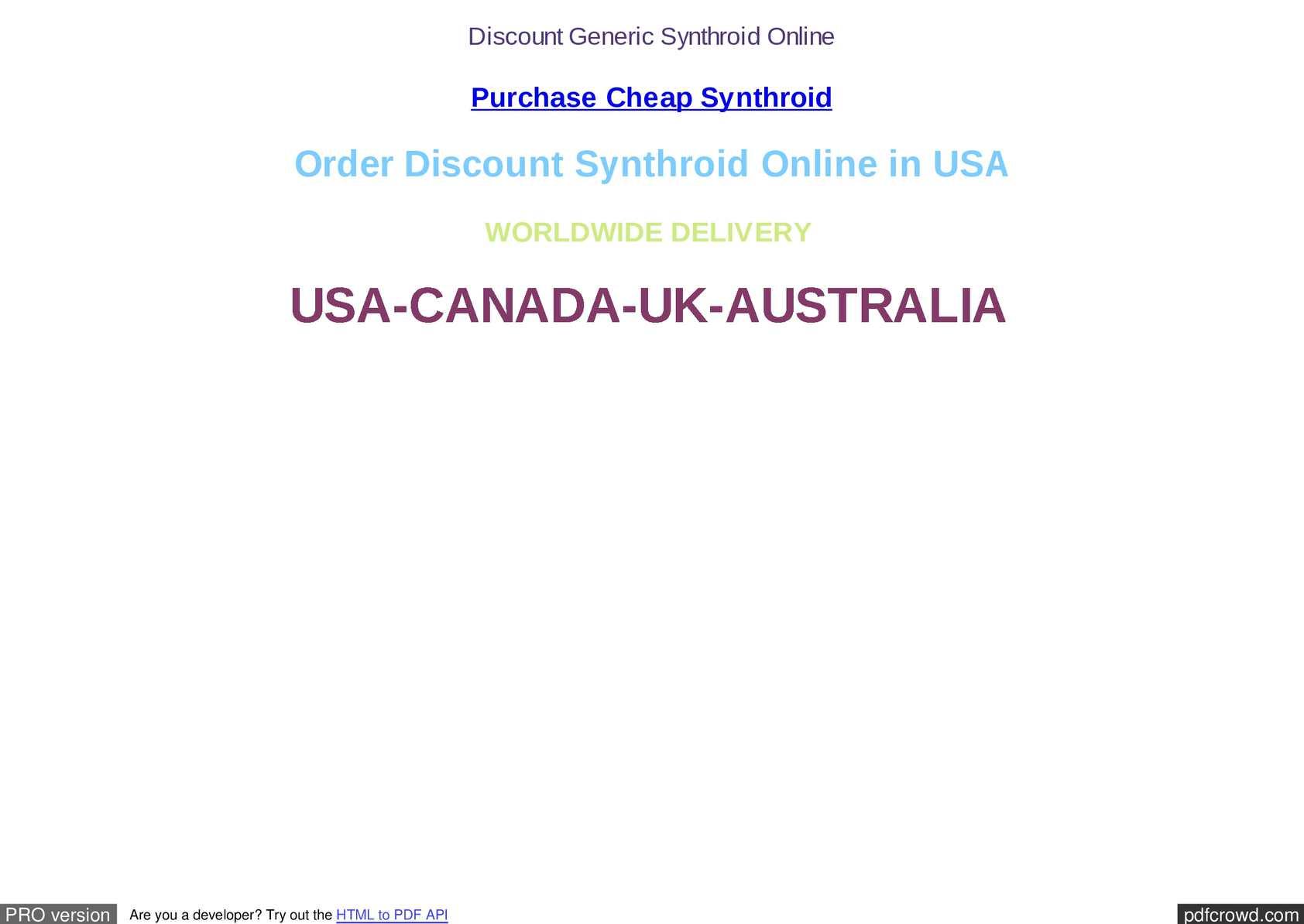 Buy cheap synthroid