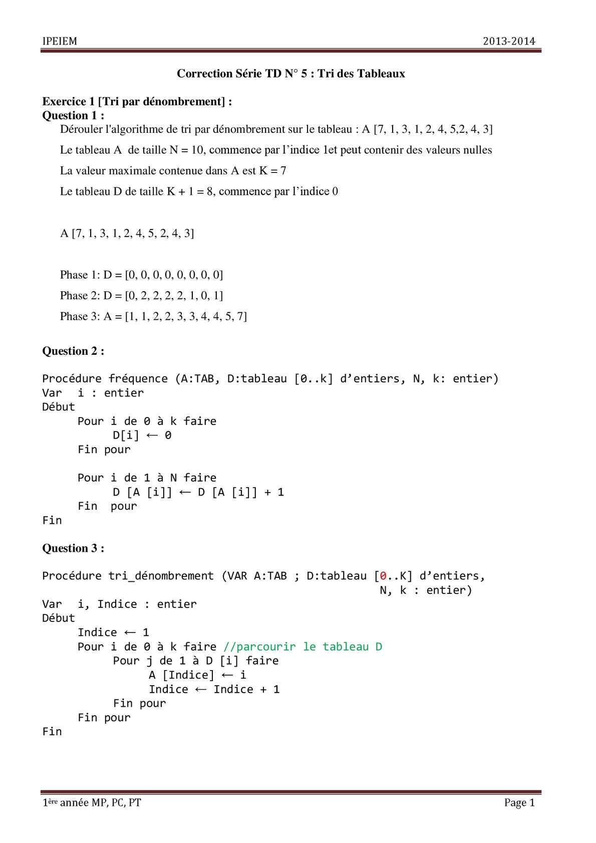 Calameo Correction Serie Td 5