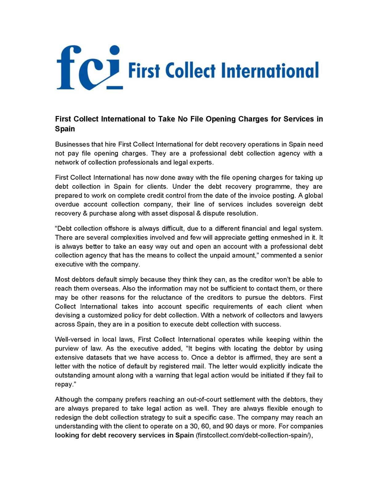 Calaméo First Collect International to Take No File Opening