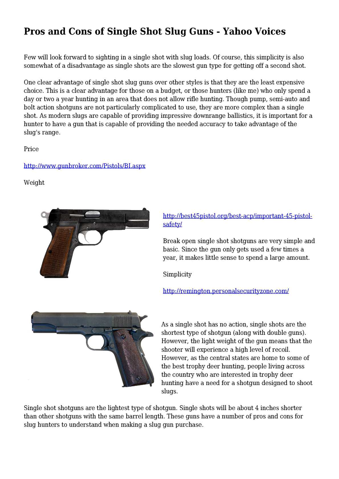 Calaméo - Pros and Cons of Single Shot Slug Guns - Yahoo Voices