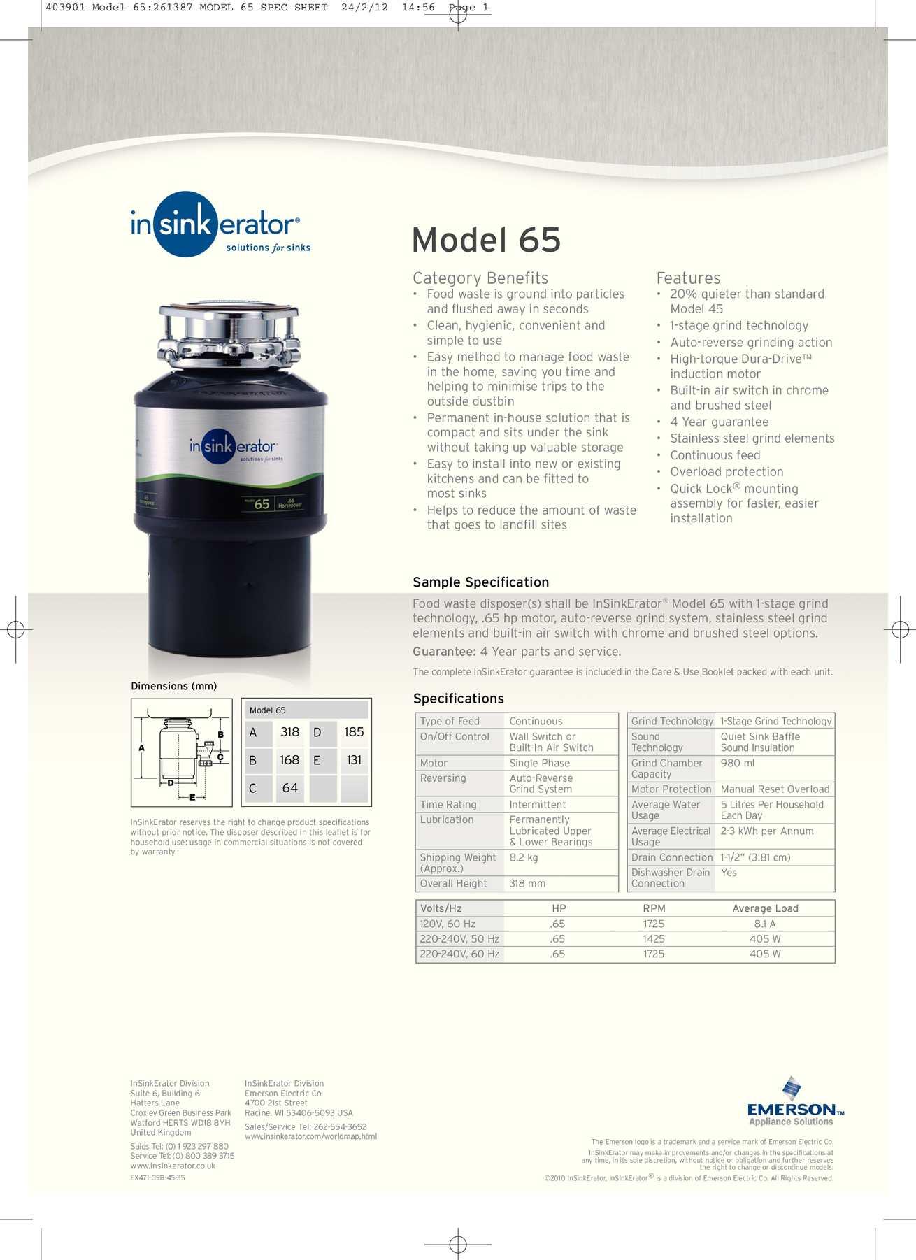 Calaméo   InSinkErator Model 40 Food Waste Disposer