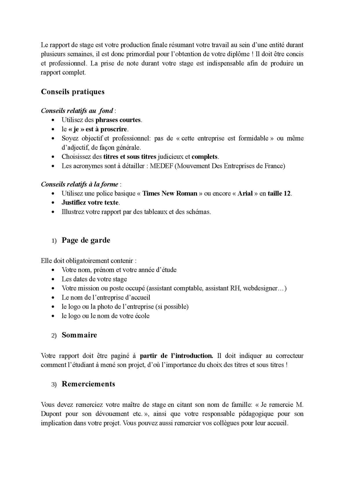 Calaméo Conseil Pour La Rédaction Du Rapport De Stage