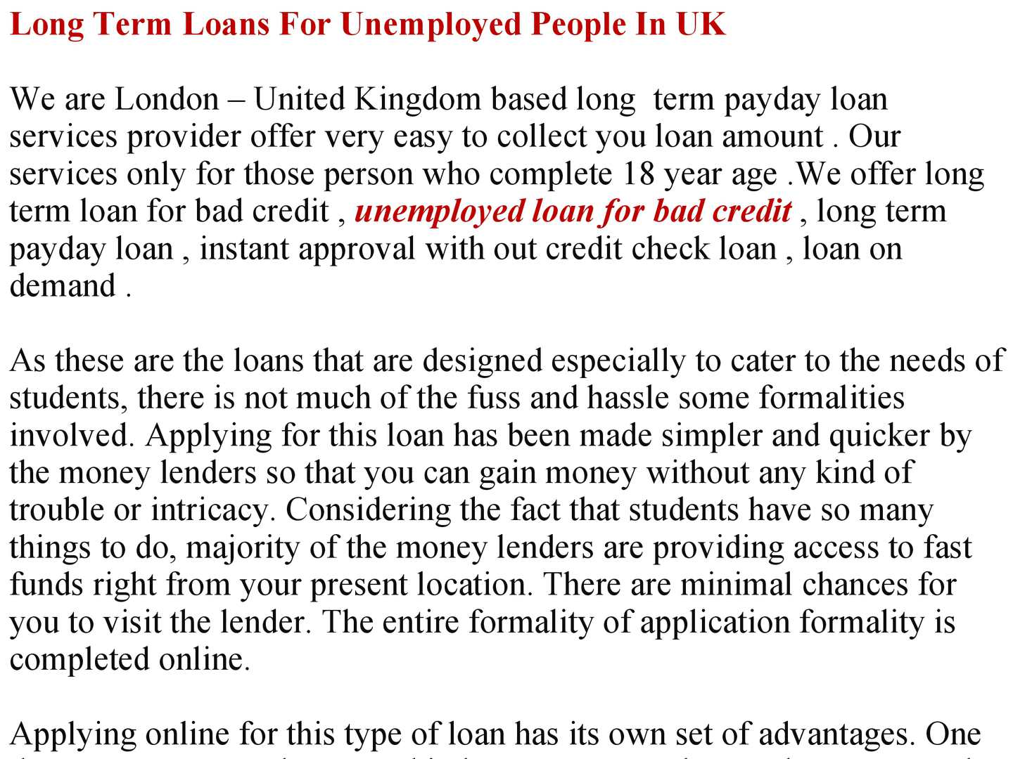 Long Term Loan >> Calameo Long Term Loans For Unemployed People In Uk
