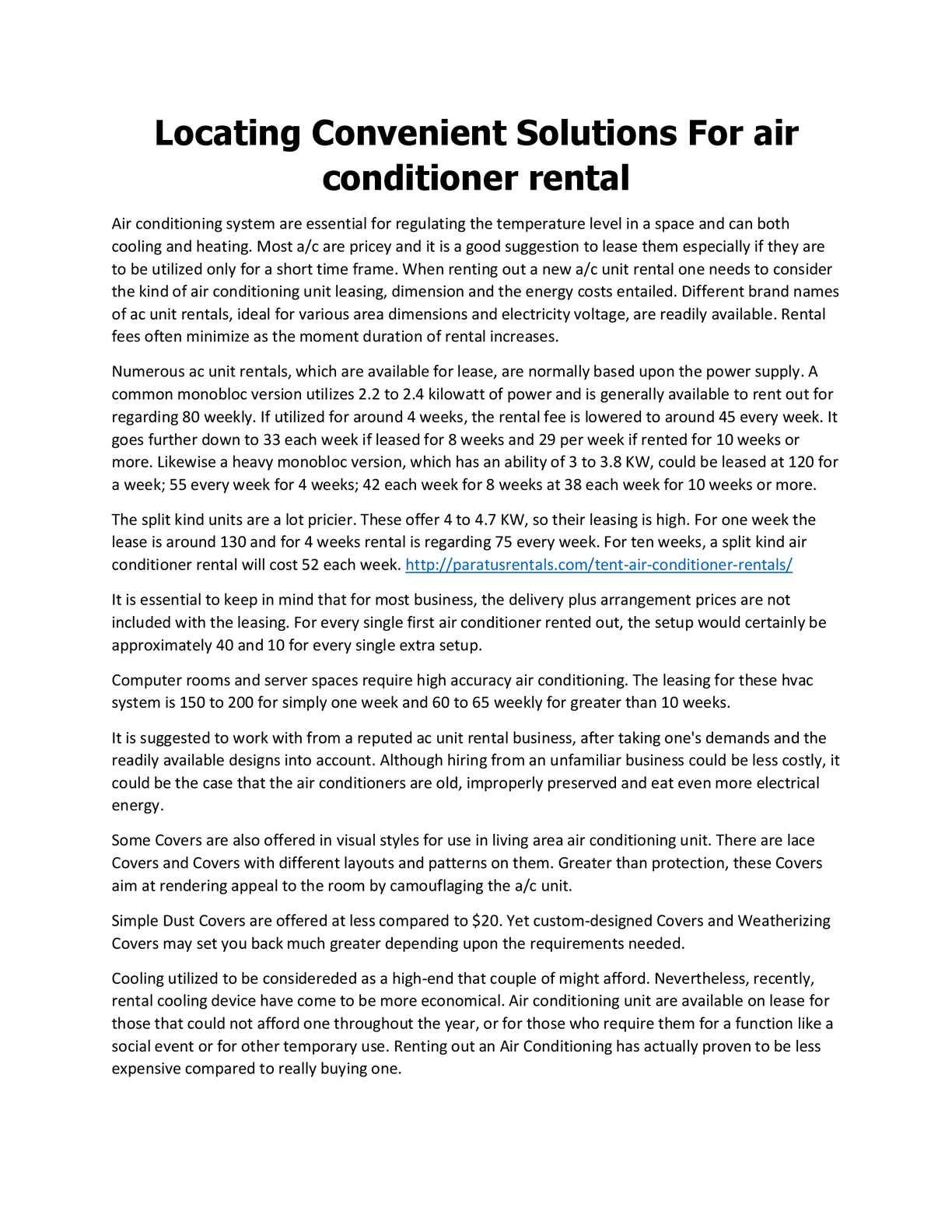 Calameo Air Conditioner Rentals