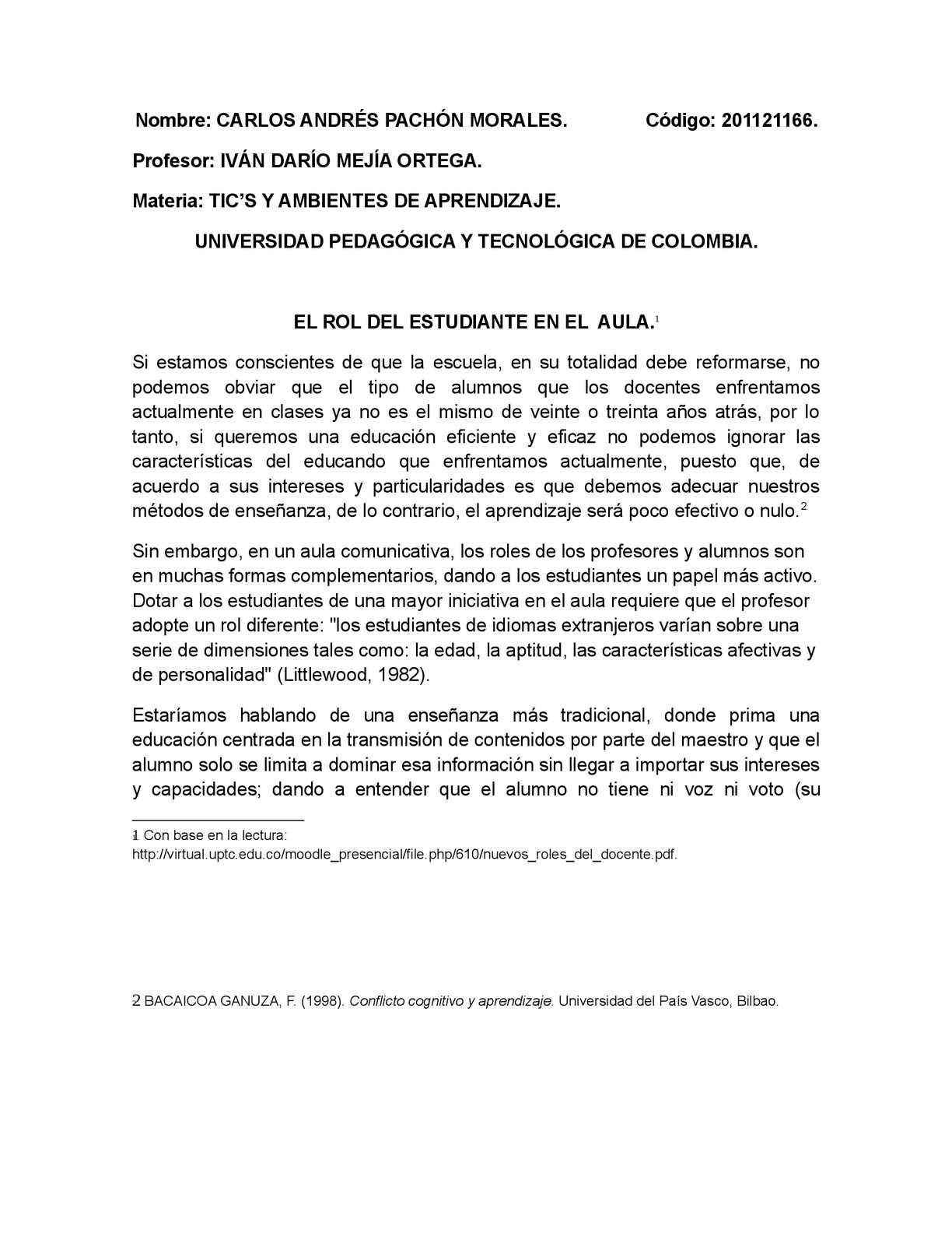 EL ROL DEL ESTUDIANTE EN EL  AULA.