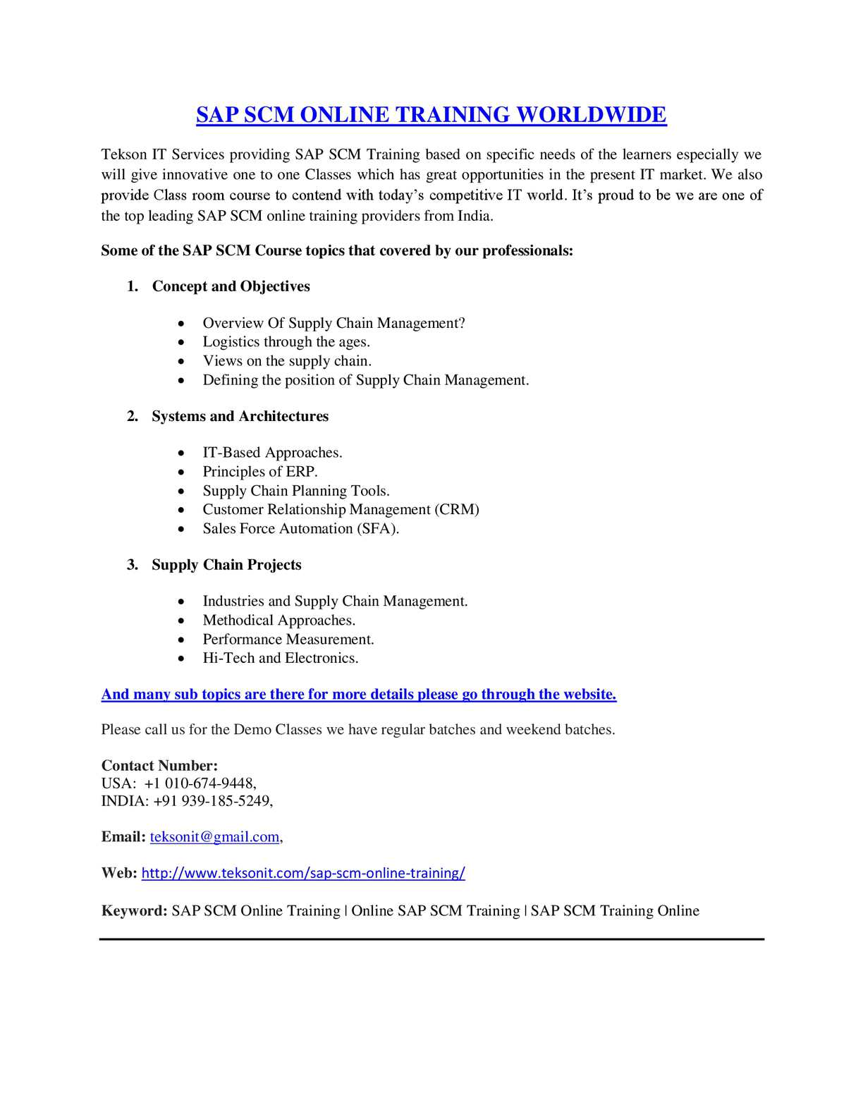 Calaméo - SAP SCM Online Training | Online SAP SCM Training Worldwide