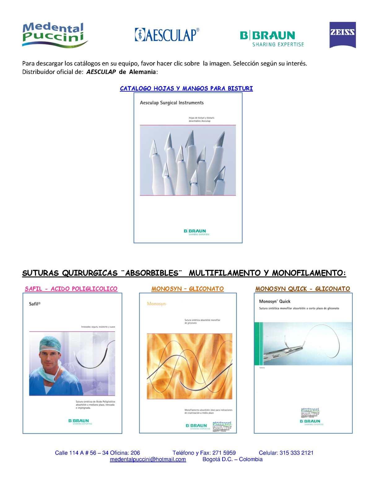 Calaméo - 2 CATALOGOS SUTURAS Y HOJAS BISTURI AESCULAP B BRAUN