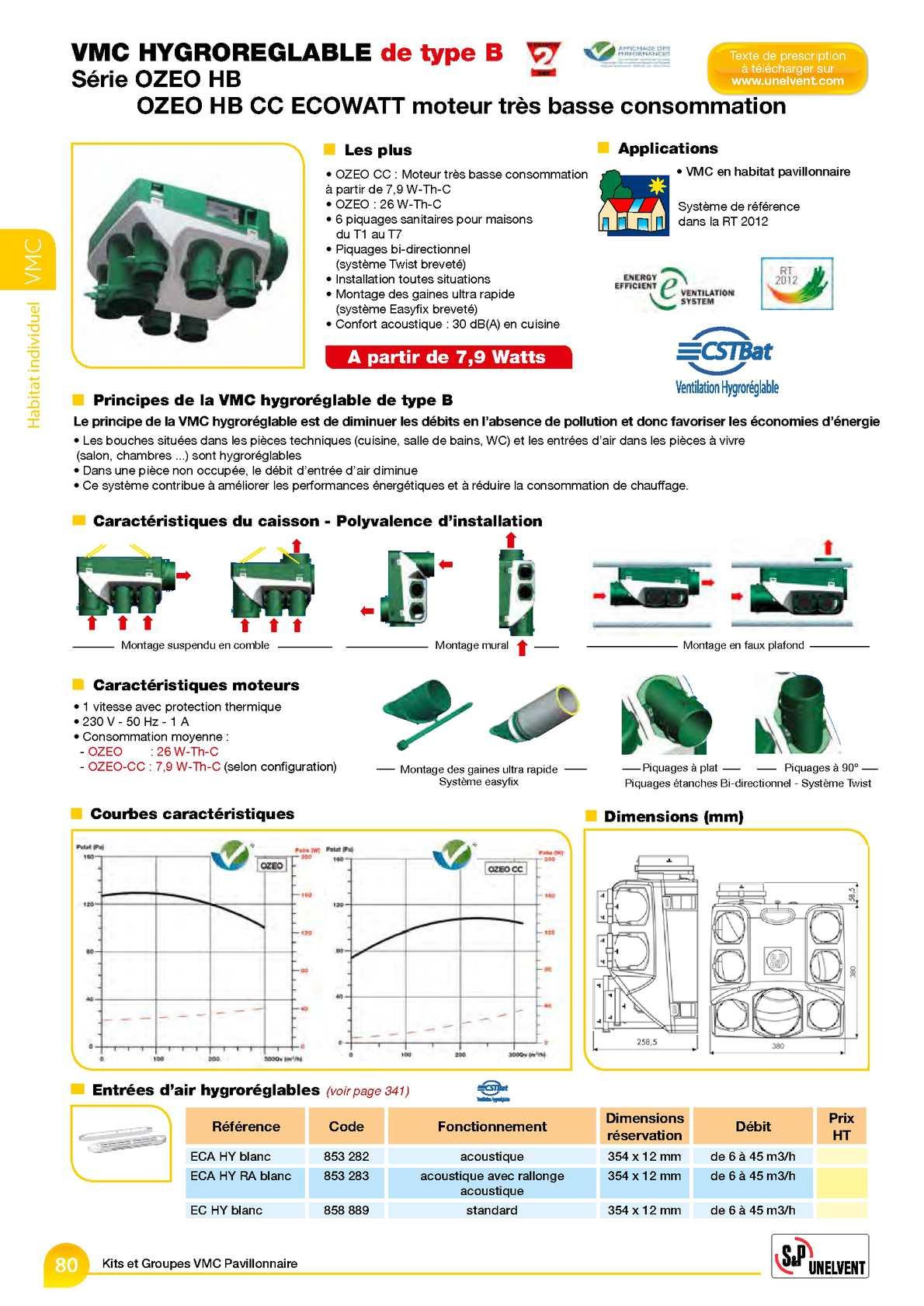 calam o catalogue 2013 vmc hygro b s rie ozeo hb. Black Bedroom Furniture Sets. Home Design Ideas