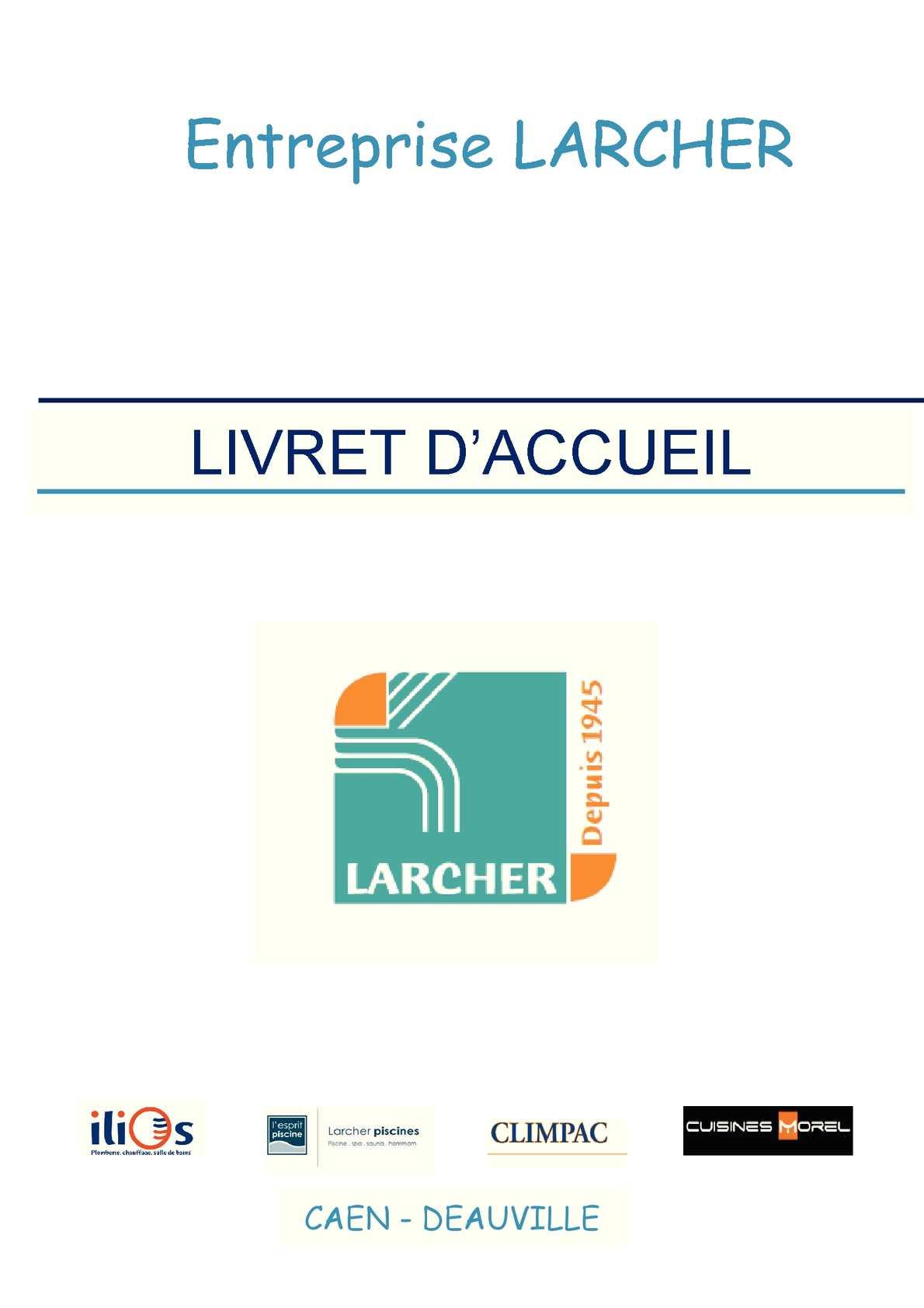 Calameo Livret D Accueil Entreprise Larcher