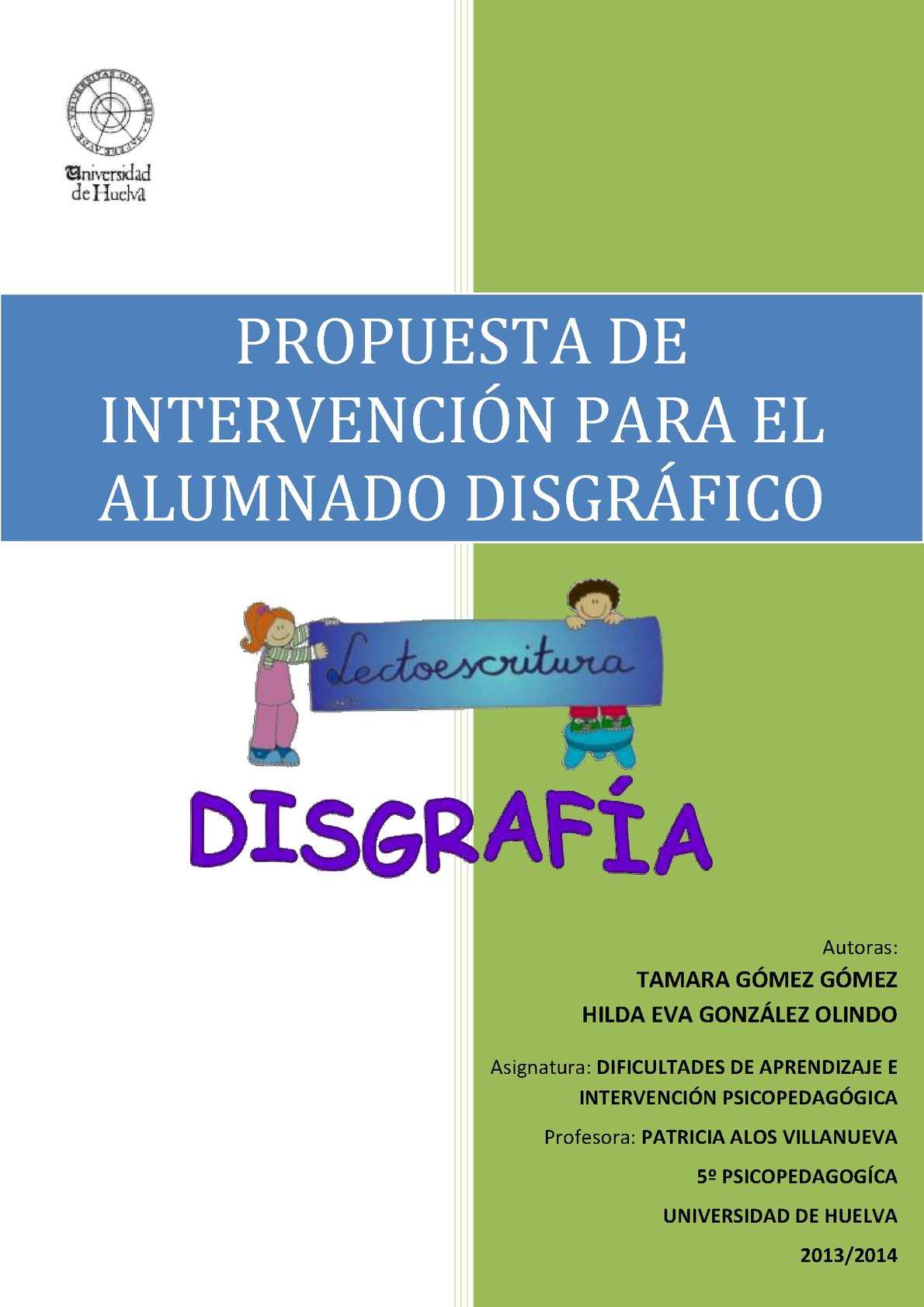 Calaméo Propuesta De Intervención Disgrafía