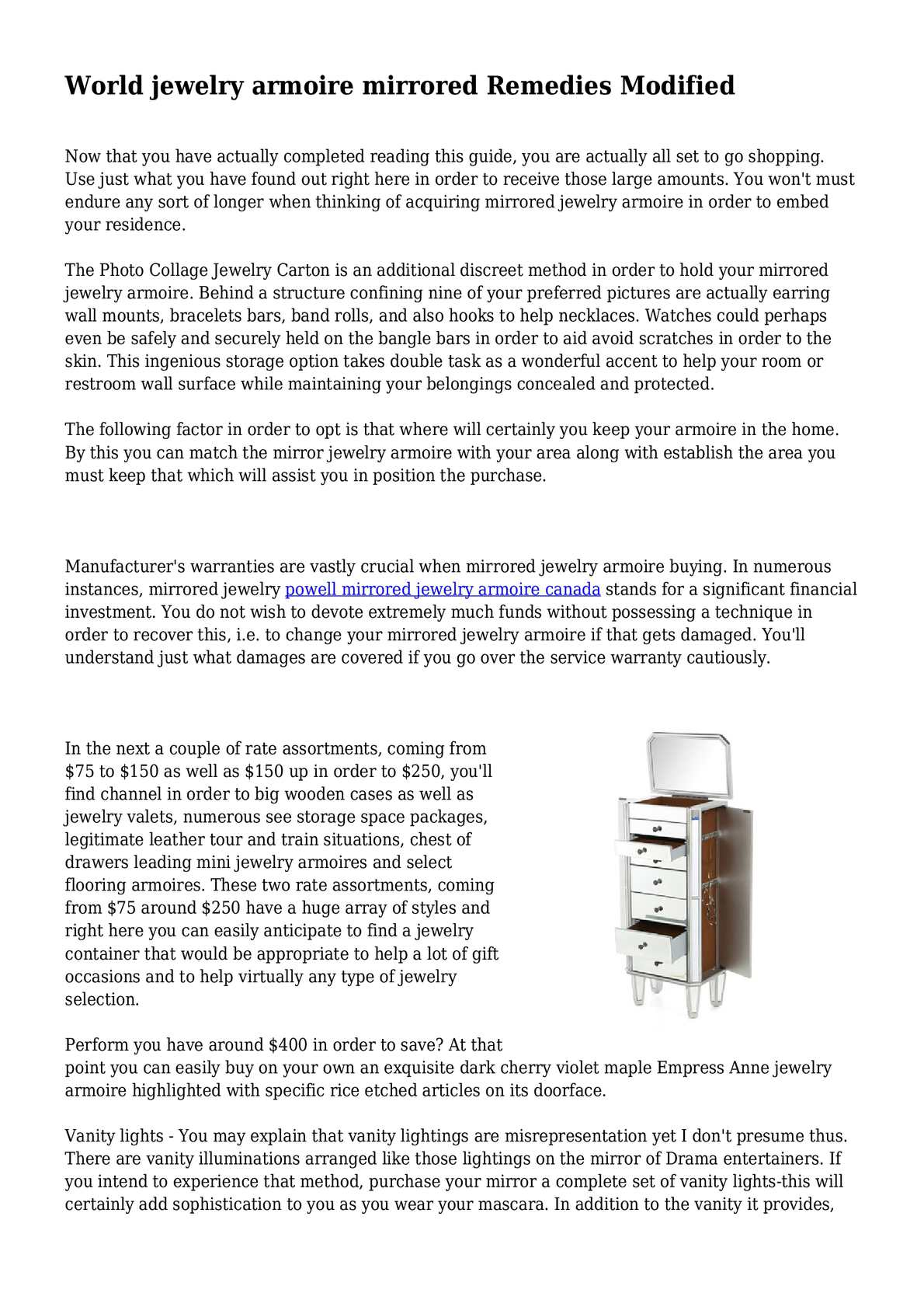 Calameo World Jewelry Armoire Mirrored Remedies Modified