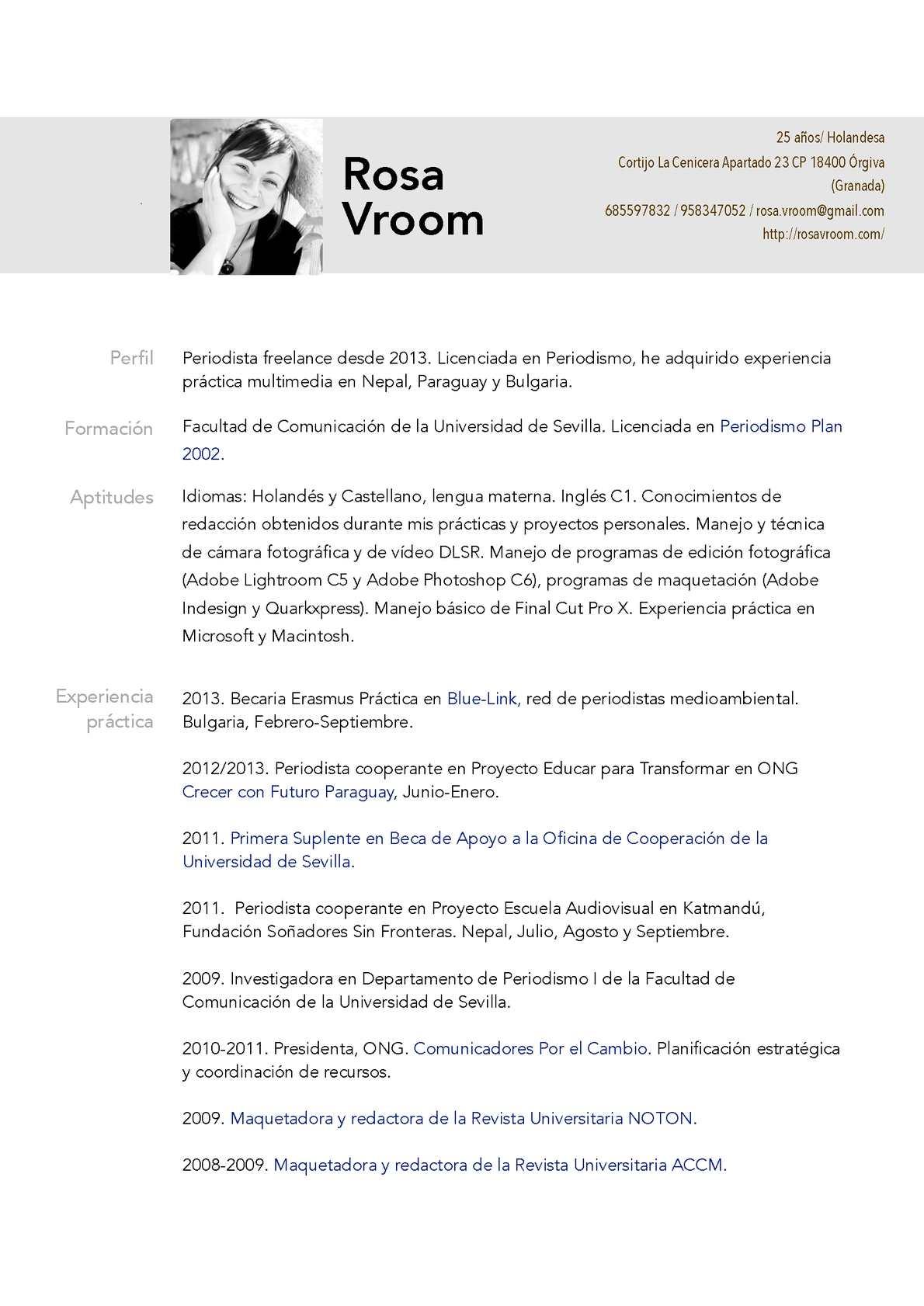 Calameo Curriculum Vitae Rosa Vroom 2014 Castellano