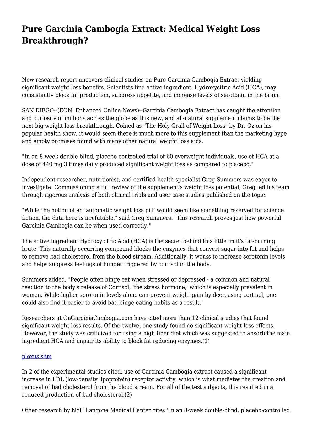 Womens health review of pure garcinia cambogia
