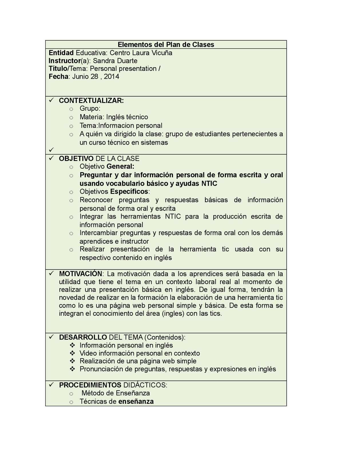 Plan de clases Inglés-NTIC