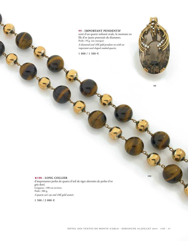 COLLIER  OEIL DE TIGRE PERLES 14-6 mm Longueur total 46 cm