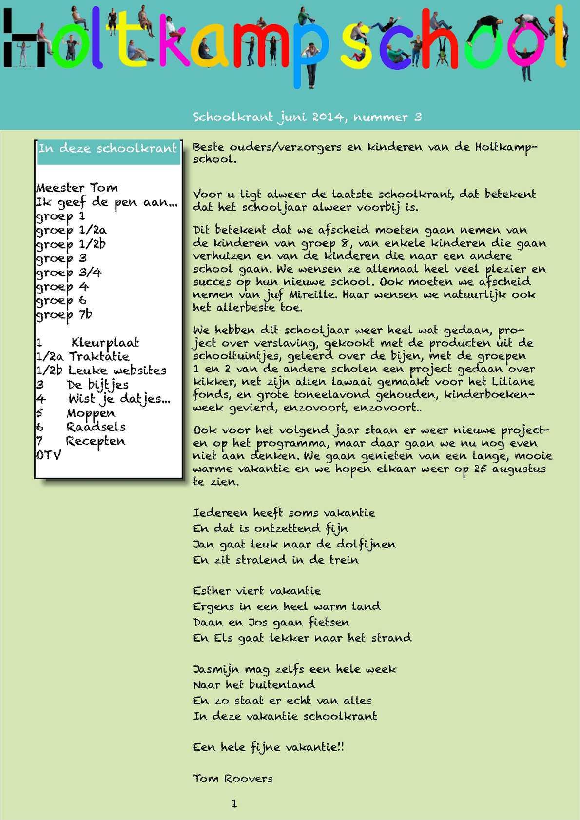 Kleurplaten En Zo Dolfijnen.Calameo Holtkampschoolkrant Nr 3 Juli 2014