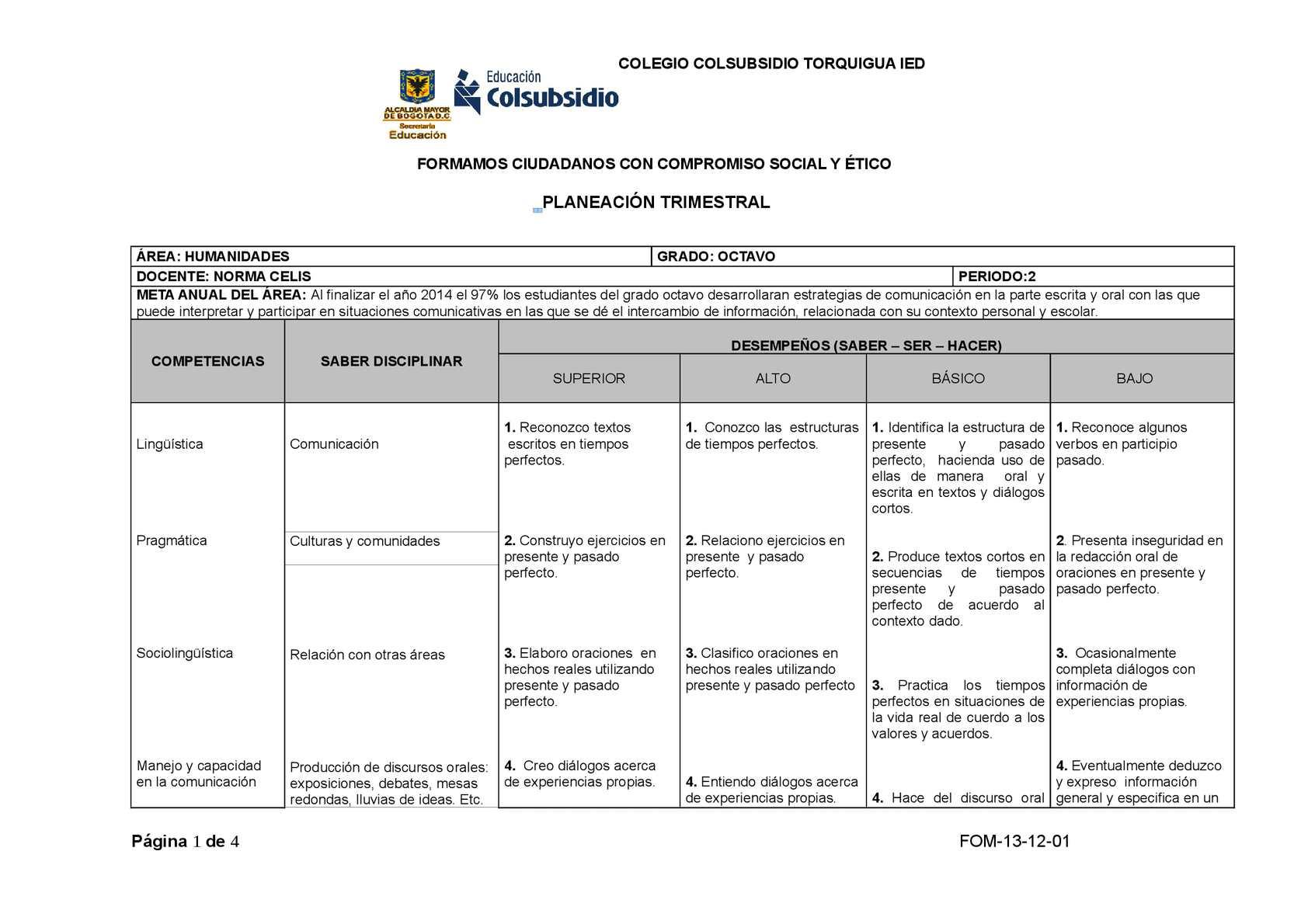 Calaméo Planeacion Trimestral Ingles 8 V 2 0