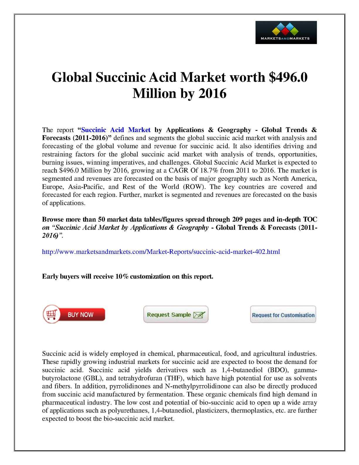 Calaméo - Succinic Acid Market 2016