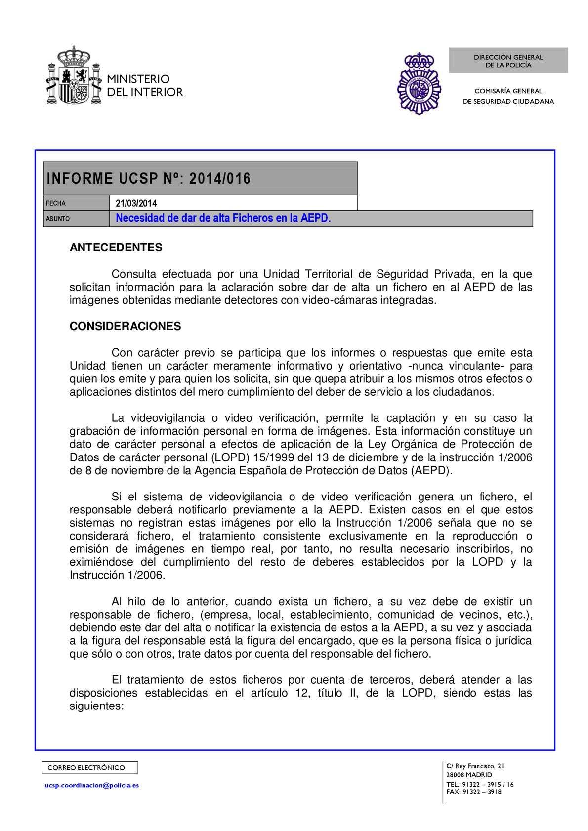 Calaméo Informe Ucsp Nº 2014 016 Necesidad De Dar De Alta Ficheros En La Aepd