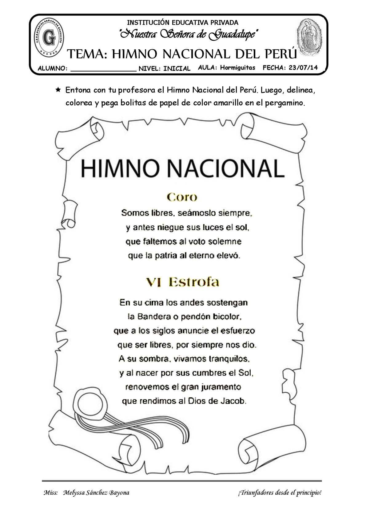 TEMA: EL HIMNO NACIONAL