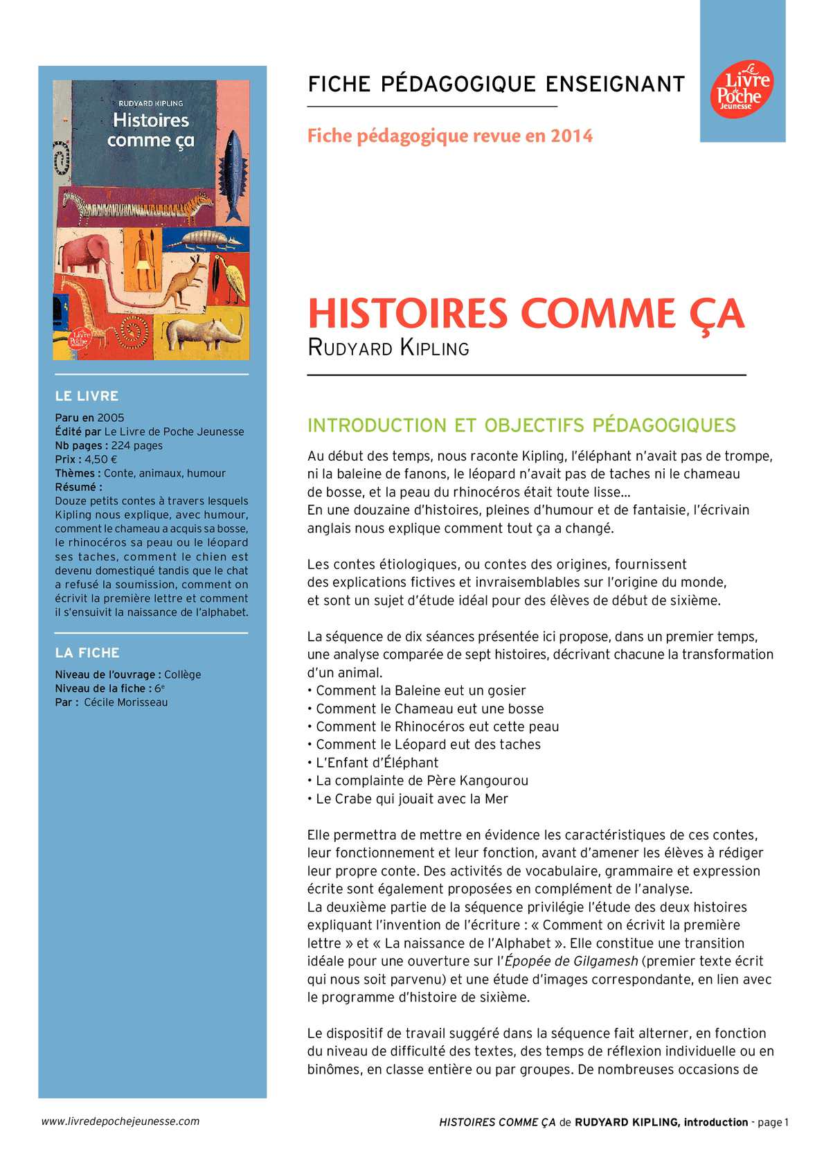 Calameo Histoires Comme Ca Ressource Pedagogique 6e