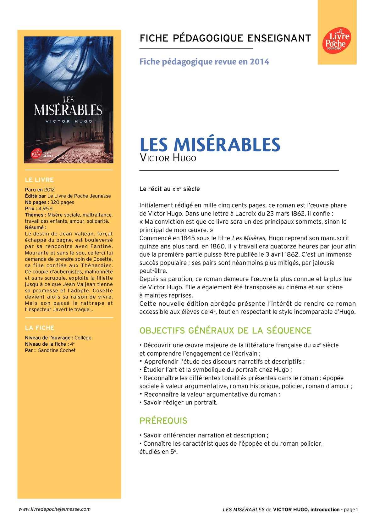 Calaméo - Les misérables -texte abrégé - ressource pédagogique