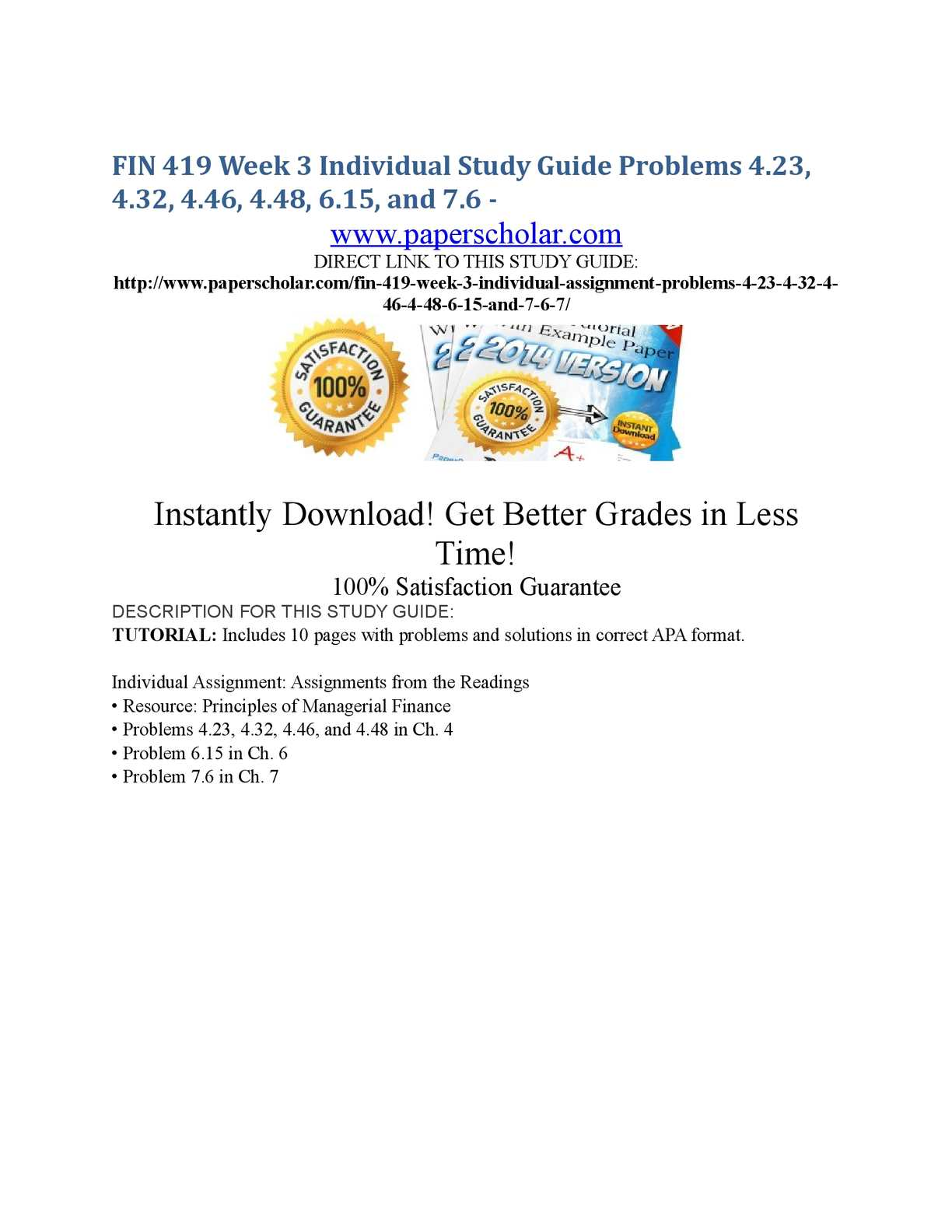 Calaméo - FIN 419 Week 3 Individual Study Guide Problems 4.23, 4.32, 4.46,  4.48, 6.15, and 7.6 -