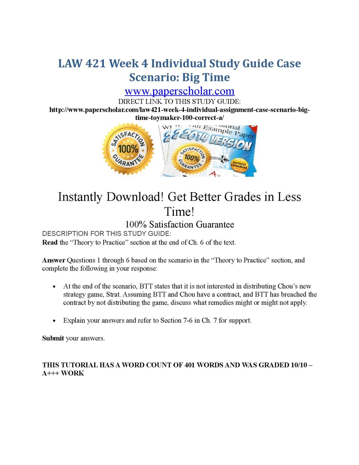 Calaméo - LAW 421 Week 4 Individual Study Guide Case Scenario Big Time