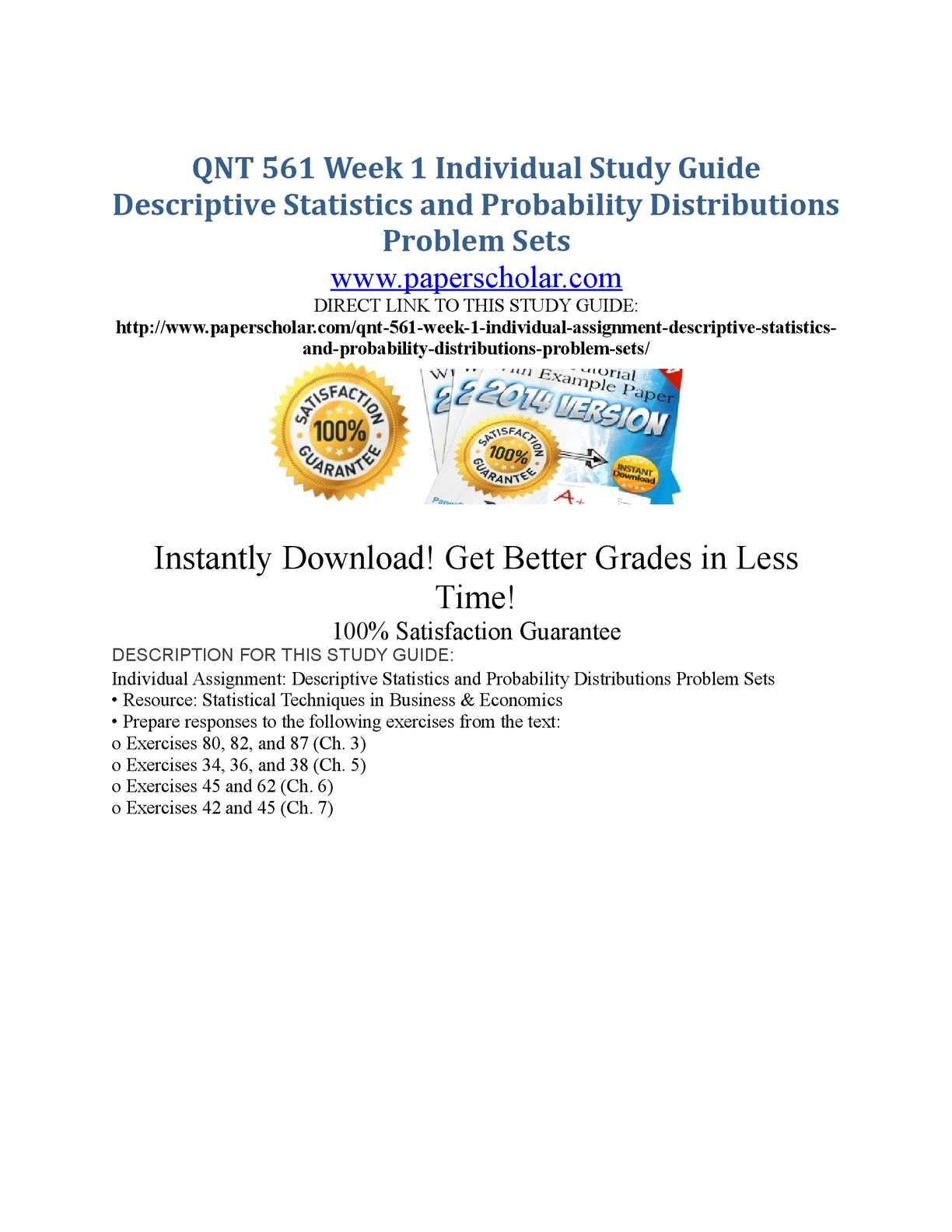 QNT/561 Statistics Concepts and Descriptive Measures