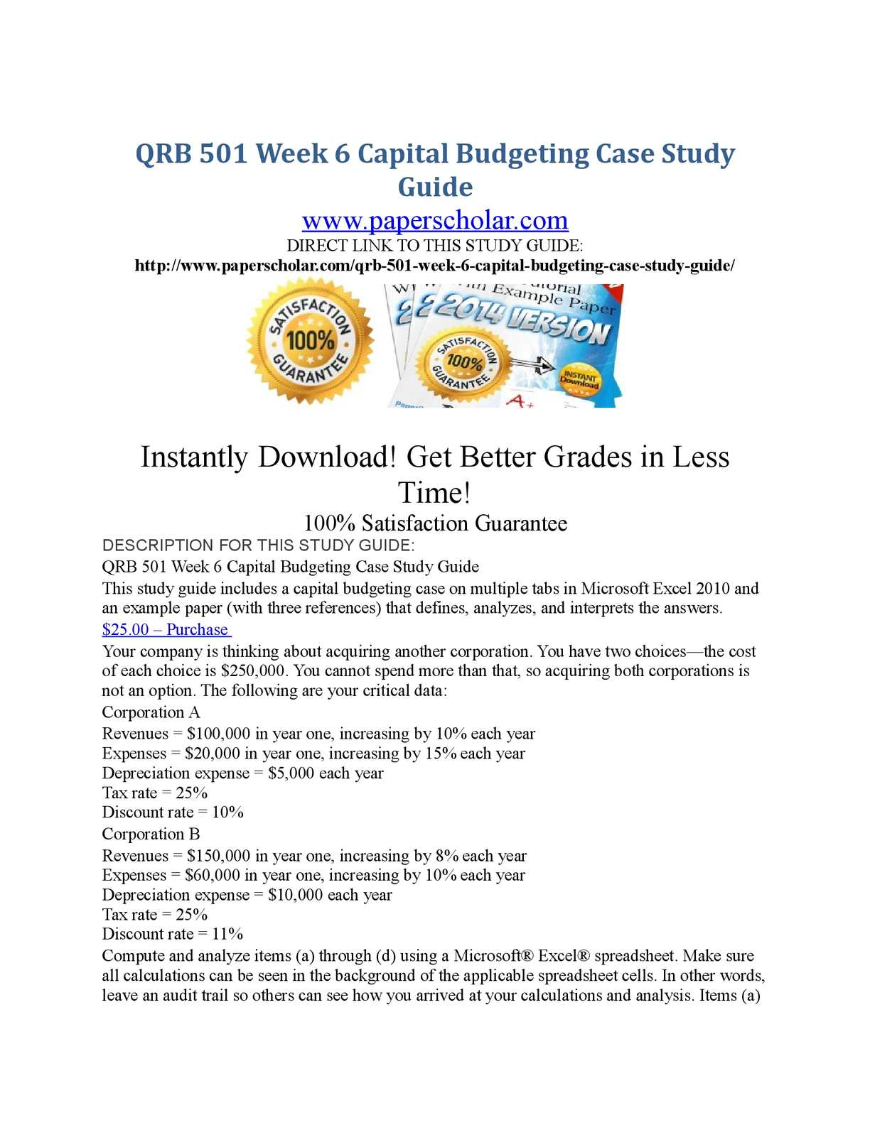 capital budgeting case study qrb 501