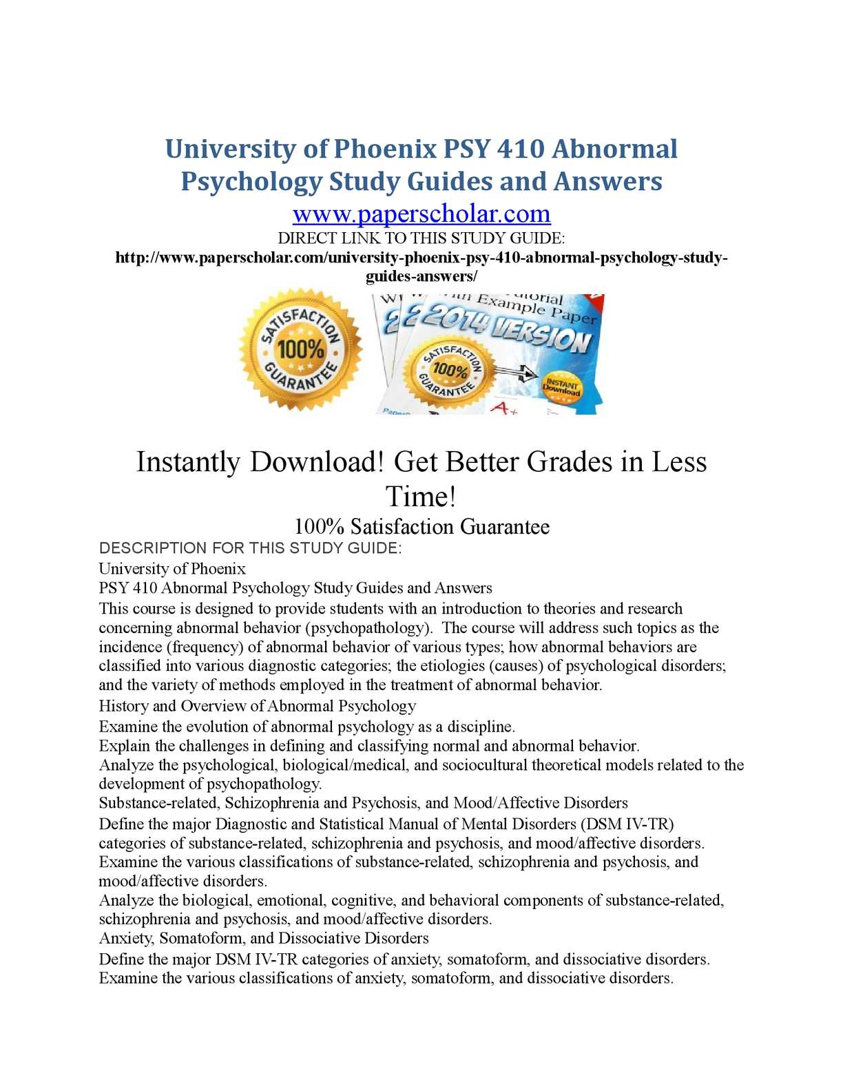 Calaméo - University of Phoenix PSY 410 Abnormal Psychology Study Guides  and Answers