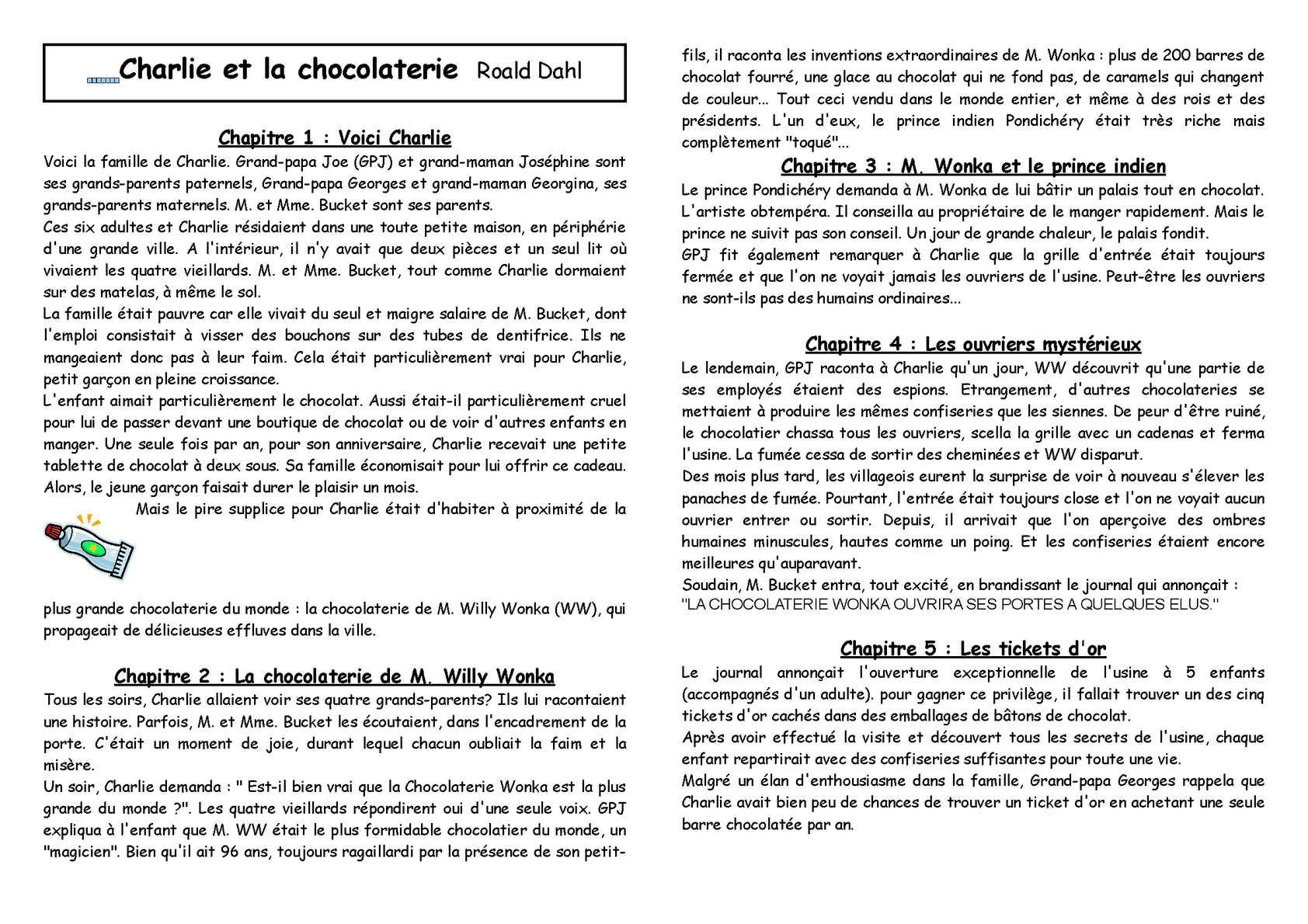 Calaméo - Cycle 3 : Littérature : Charlie et la chocolaterie (résumé)