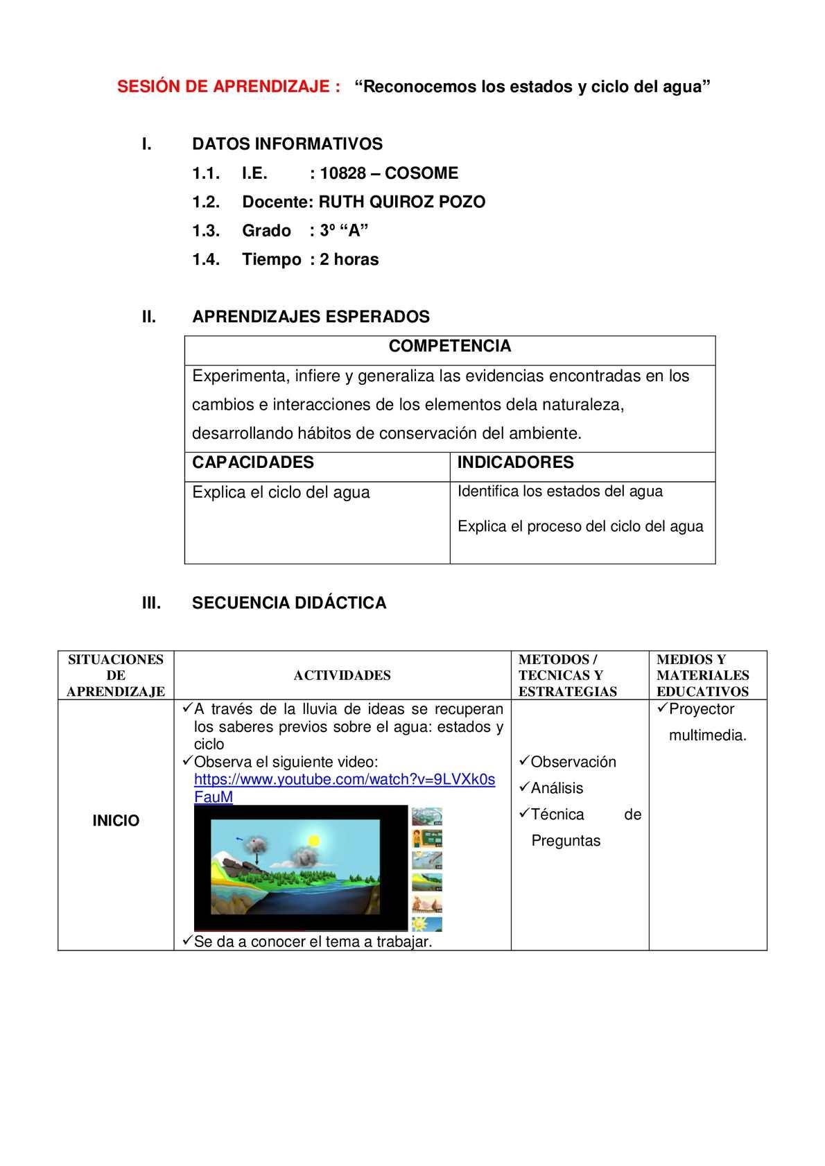Calaméo Sesión De Aprendizaje El Ciclo Del Agua