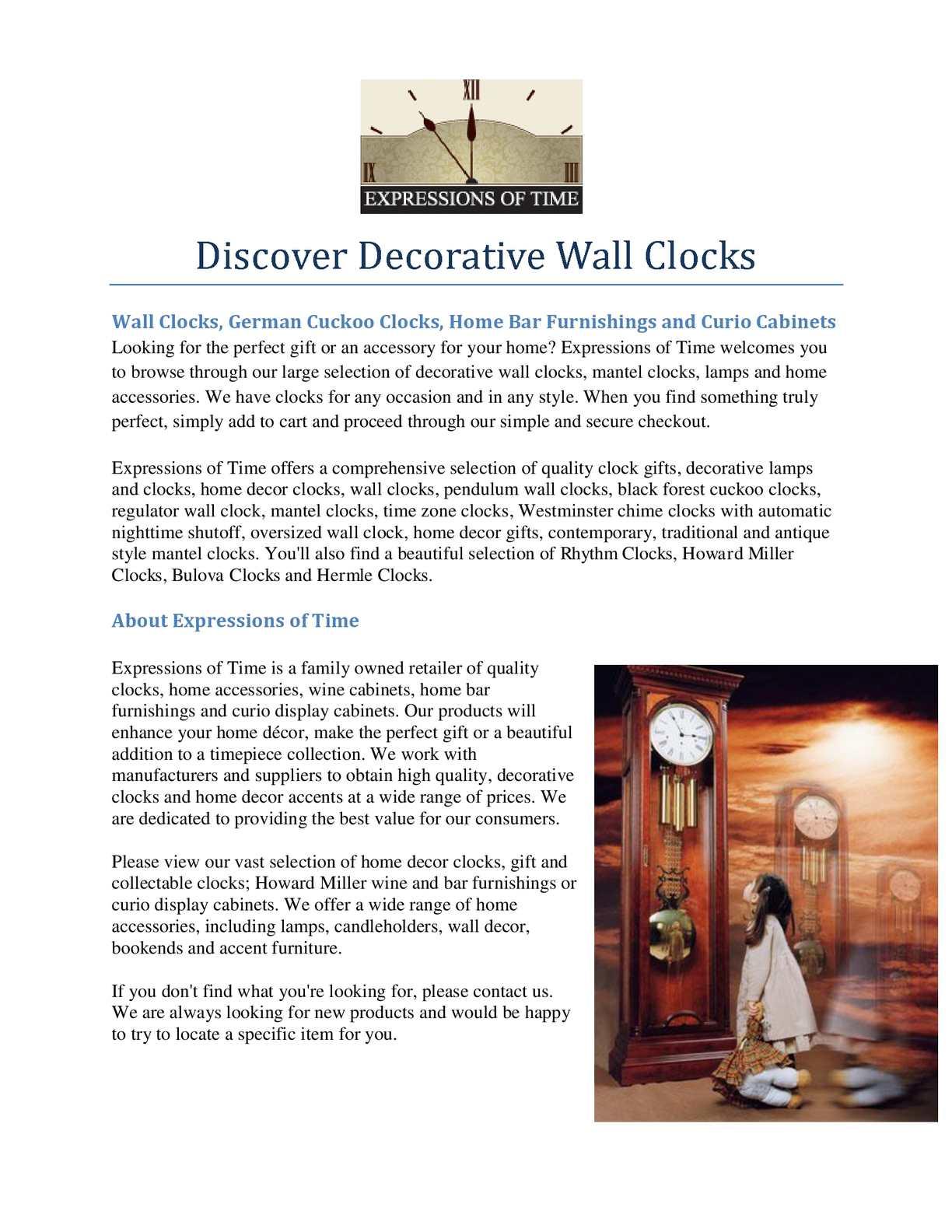 Calameo Discover Decorative Wall Clocks