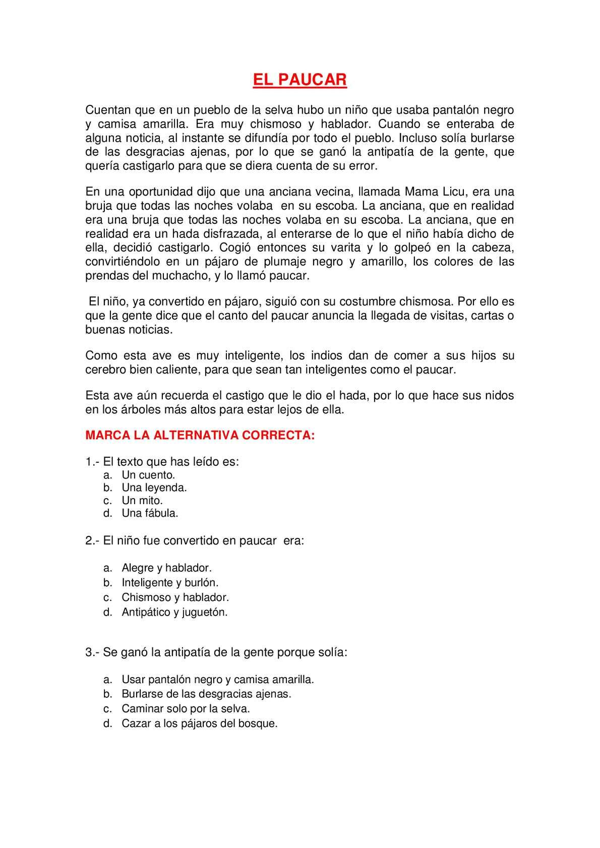 Calamo COMPRENSIN LECTORA EL PAUCAR
