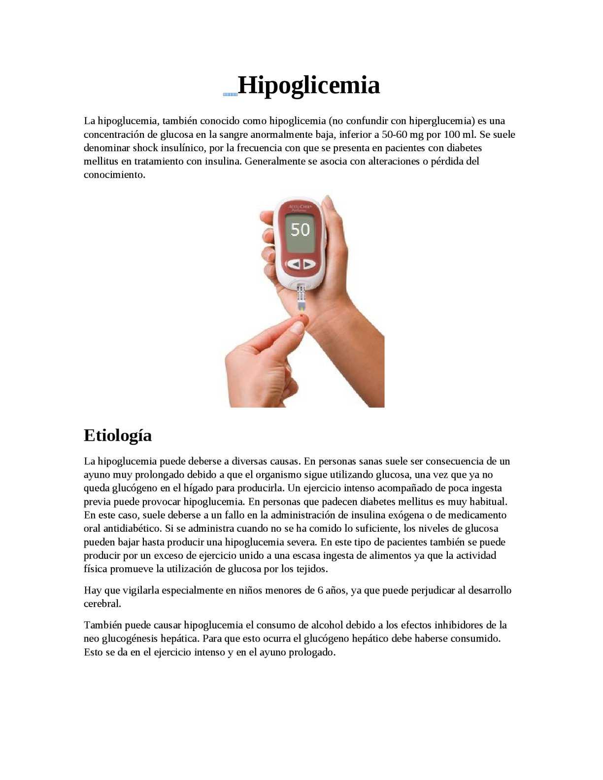 hipoglucemia diabetes consumo de alcohol