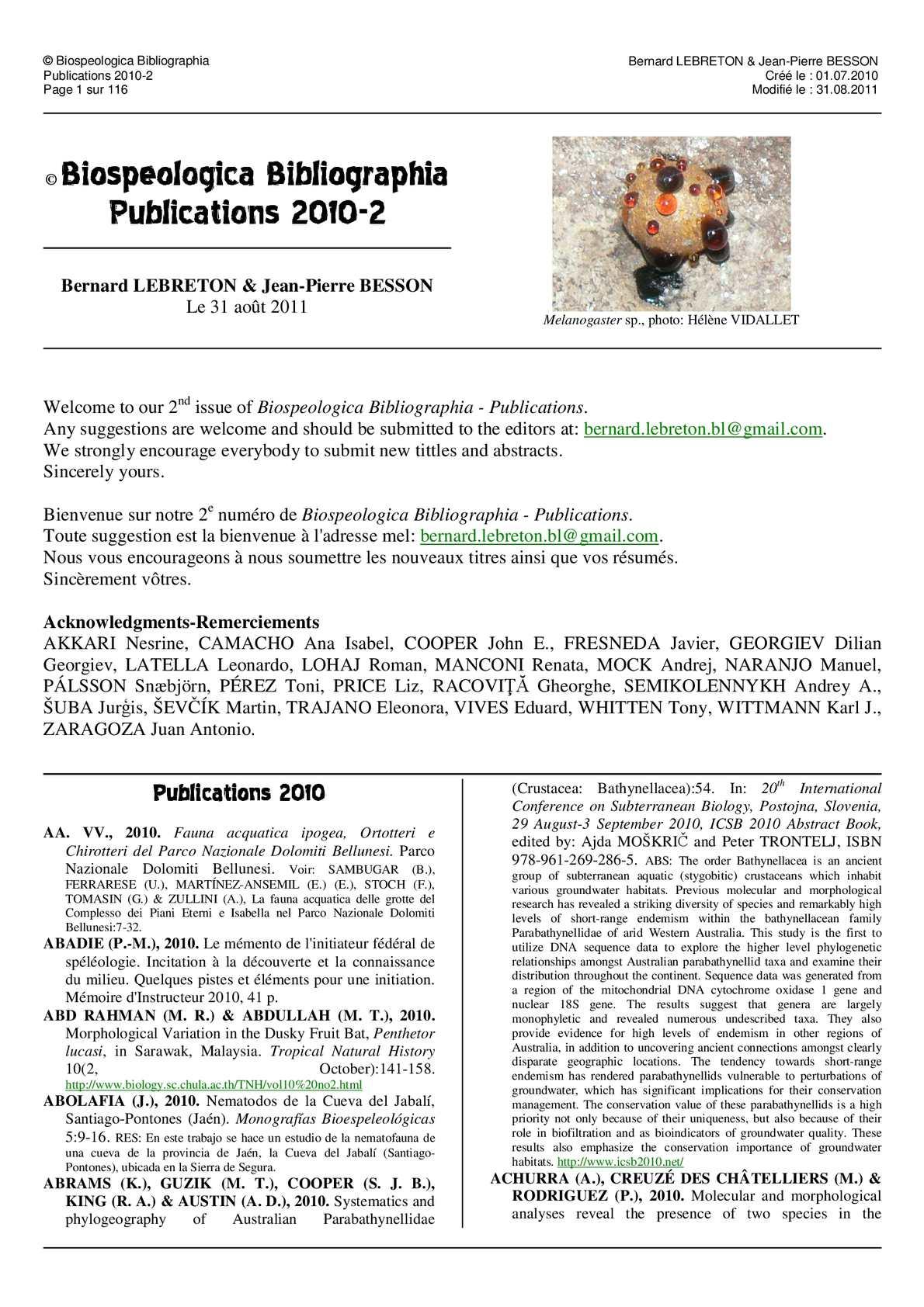 Calam O Biospeologica Bibliographia Publications 2010 2