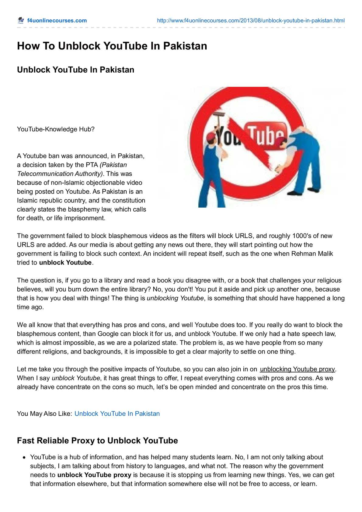 Calaméo - How To Unblock Youtube
