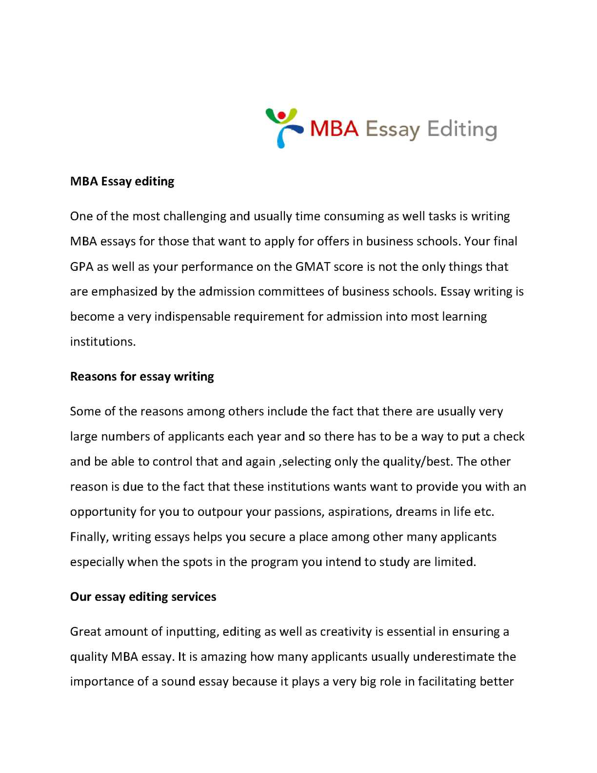 Best Mba Essay Editing Service