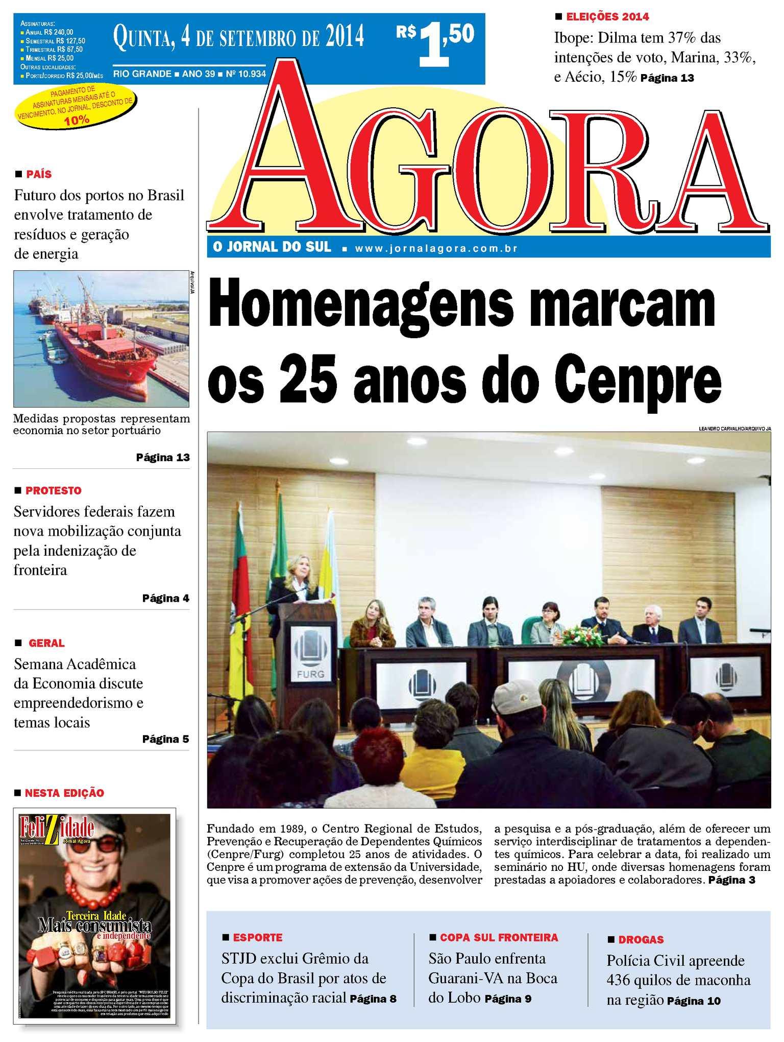 3a17f516f6 Calaméo - Jornal Agora - Edição 10934 - 4 de setembro de 2014