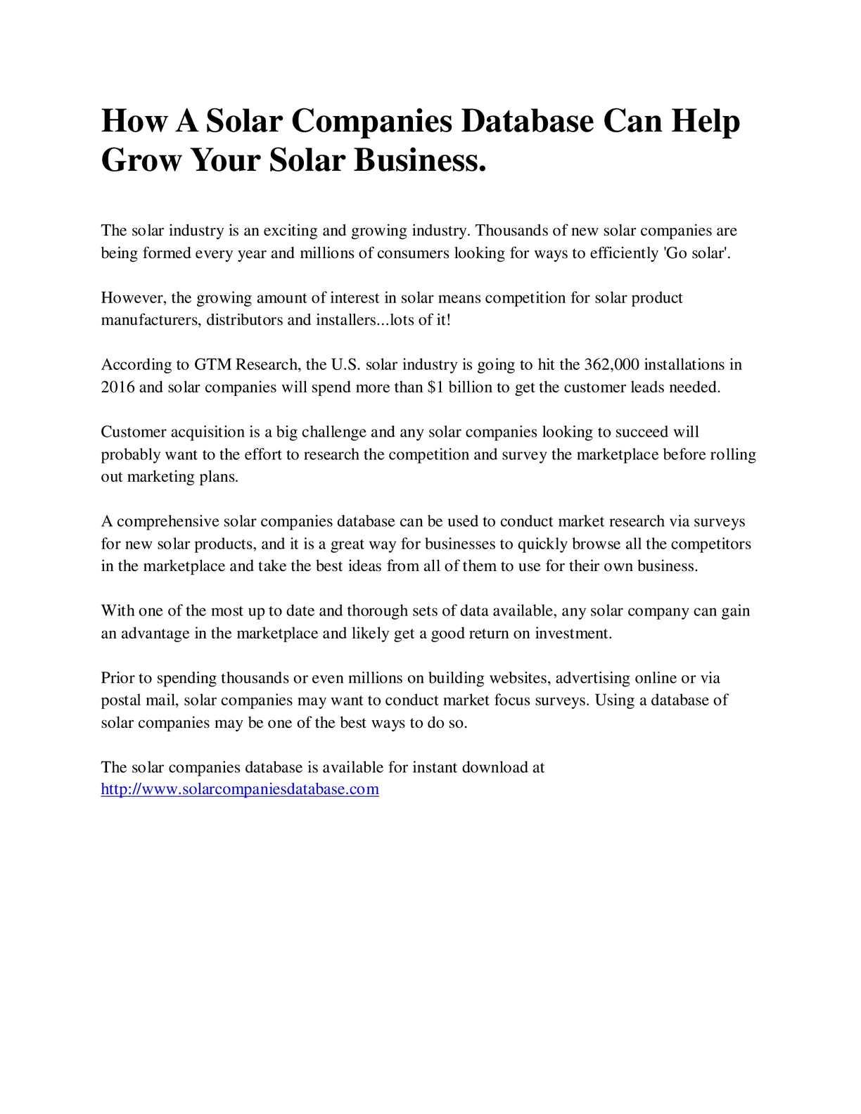 Calaméo - How A Solar Companies Database Can Help Grow Your Solar