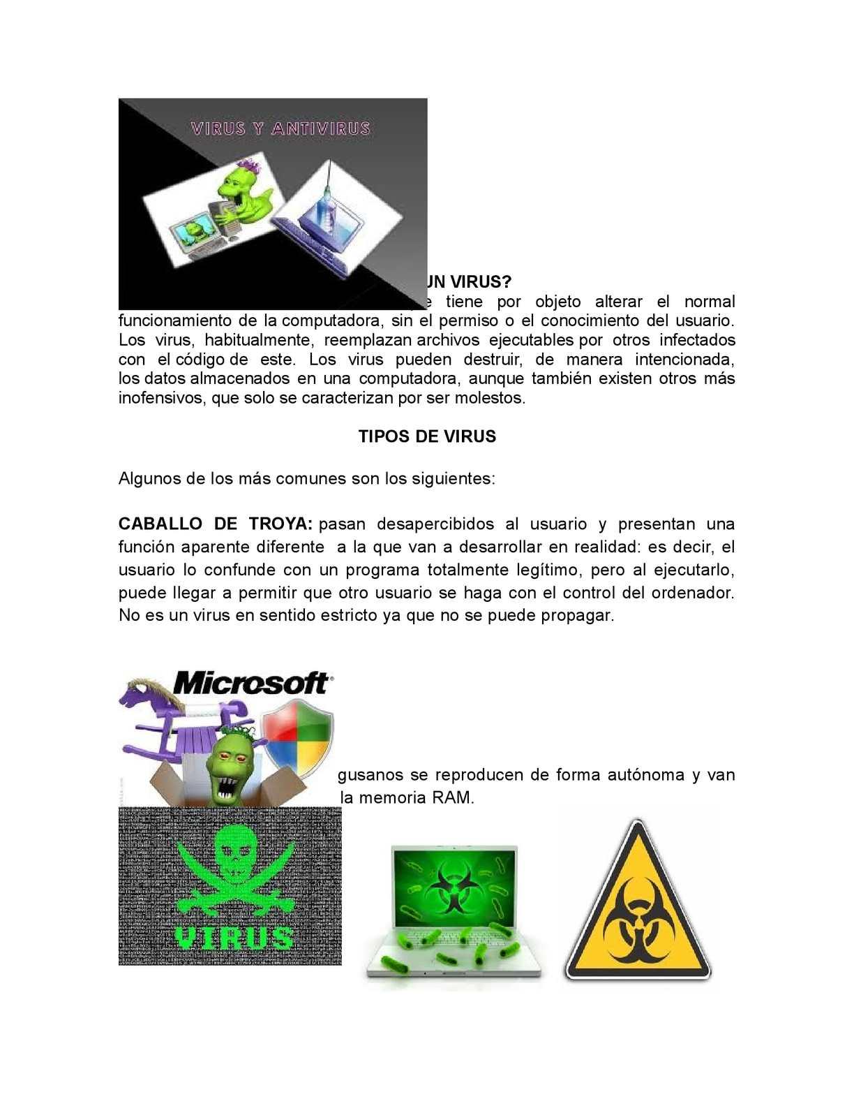 los diferentes tipos de virus informaticos