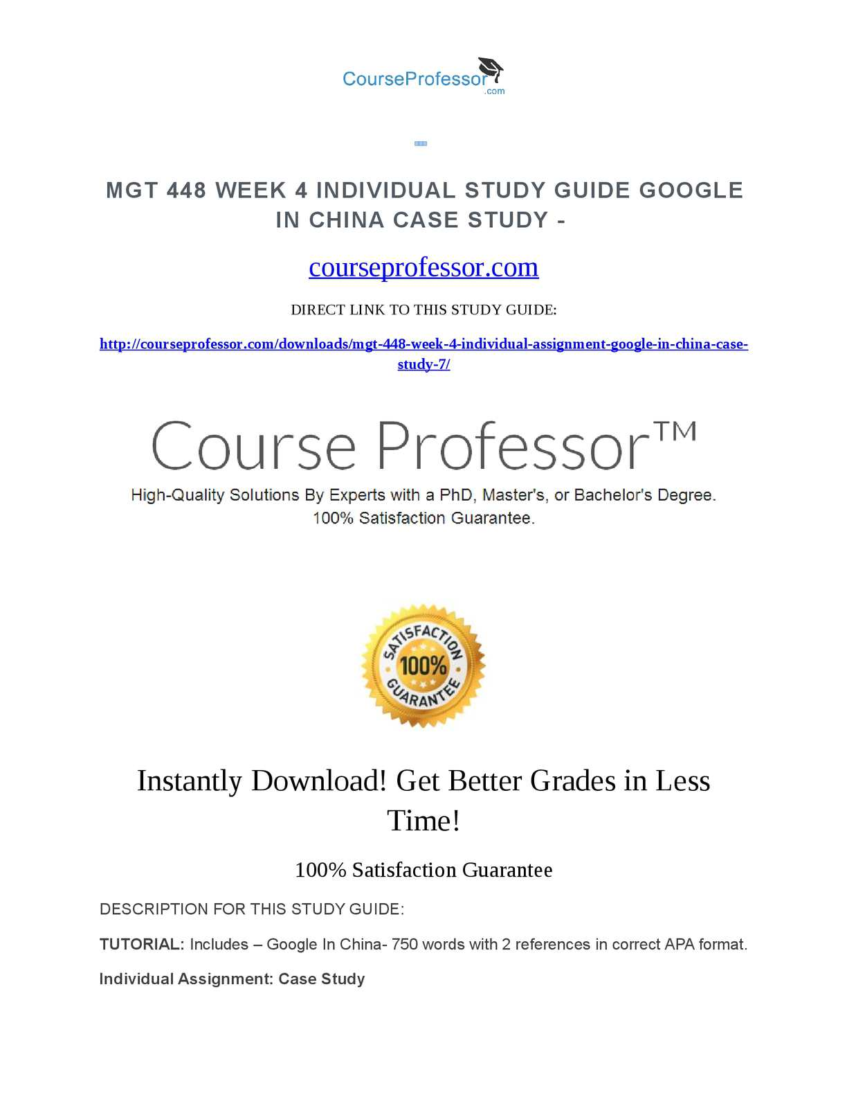 Calaméo - MGT 448 Week 4 Individual Study Guide Google in China Case