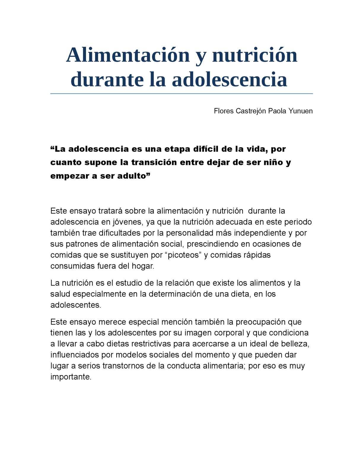 nutrición adecuada y adolescencia