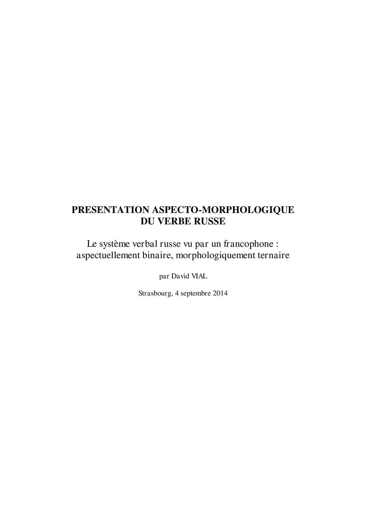 Calameo Presentation Aspecto Morphologique Du Verbe Russe En Cours De Redaction