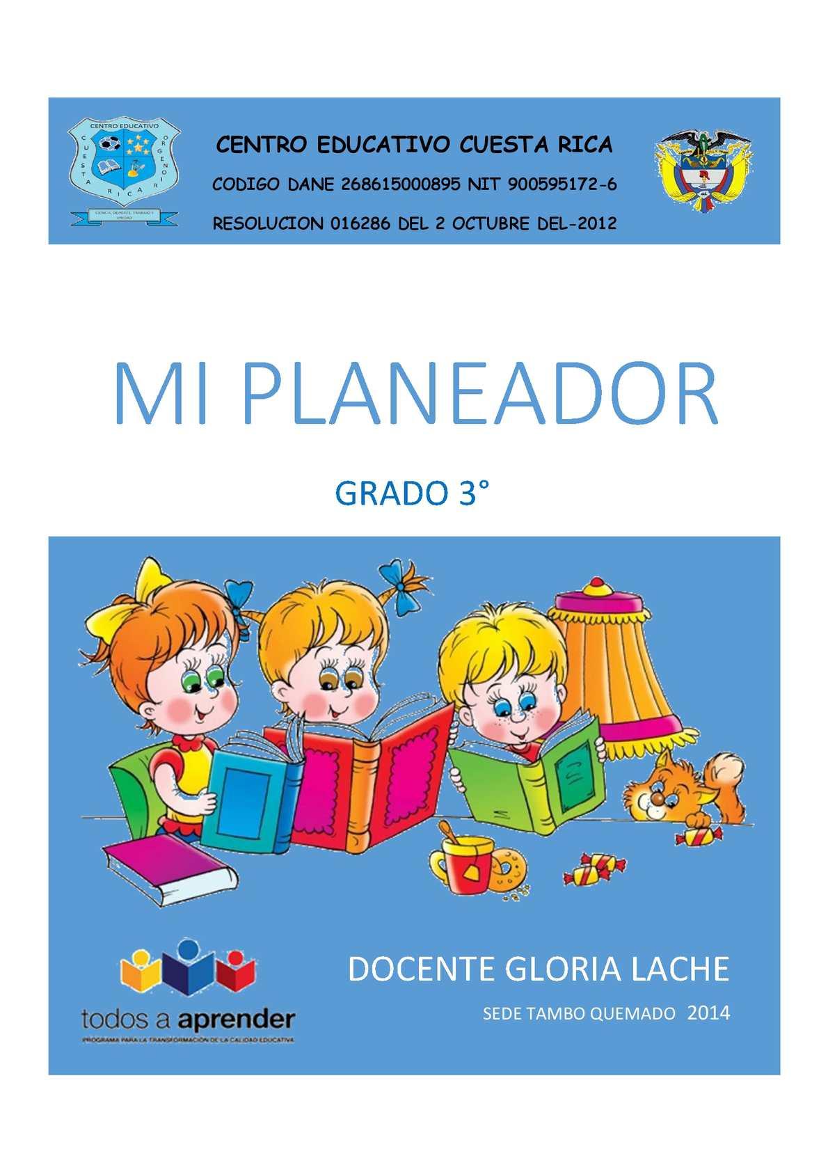 Calaméo - PLANEADOR DE CLASES 3°- doc GLORIA LACHE