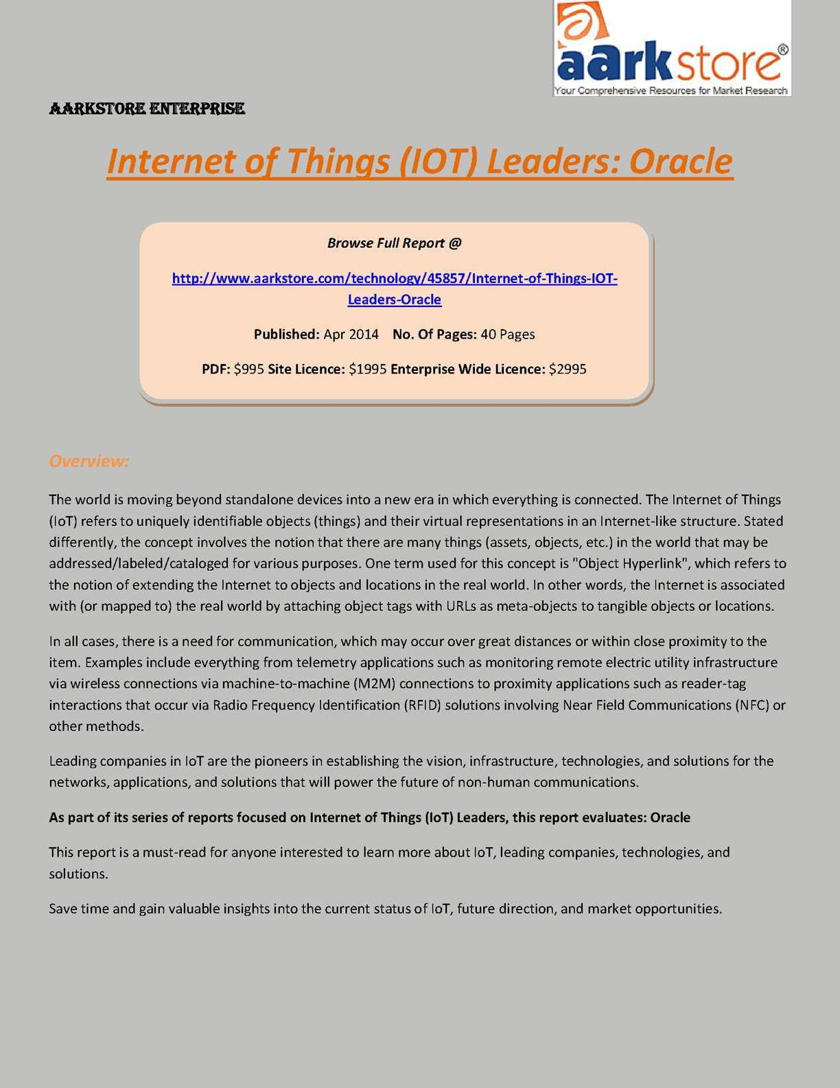 Calaméo - Aarkstore: Internet of Things (IOT) Leaders: Oracle