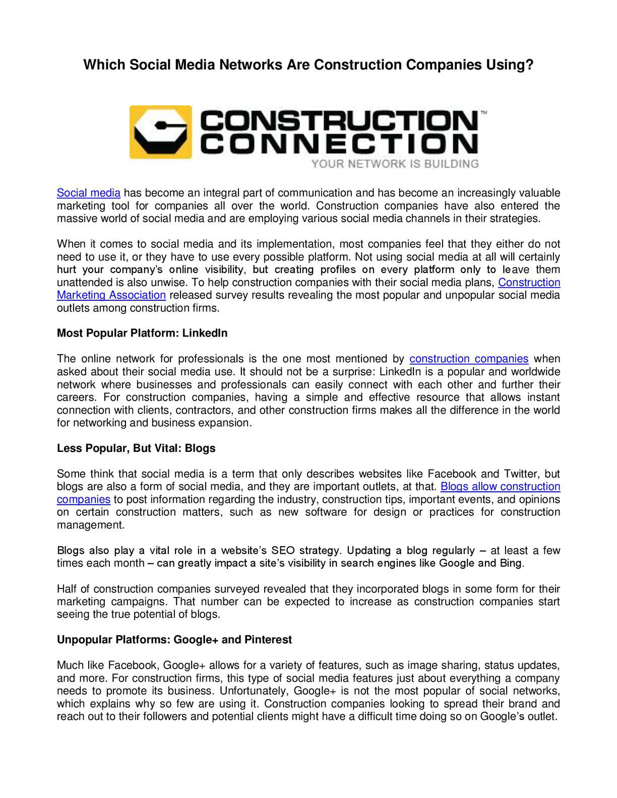Calaméo - Which Social Media Networks Are Construction Companies Using?
