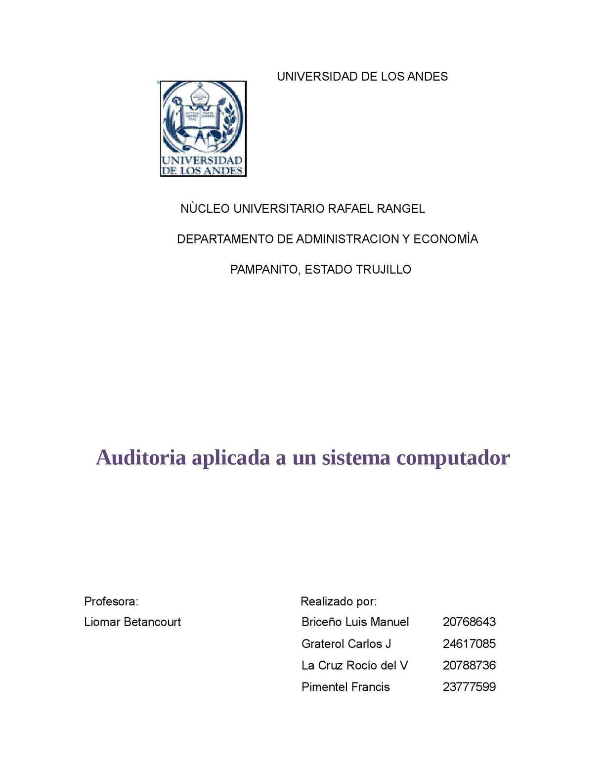 auditoria a un sistema de computo