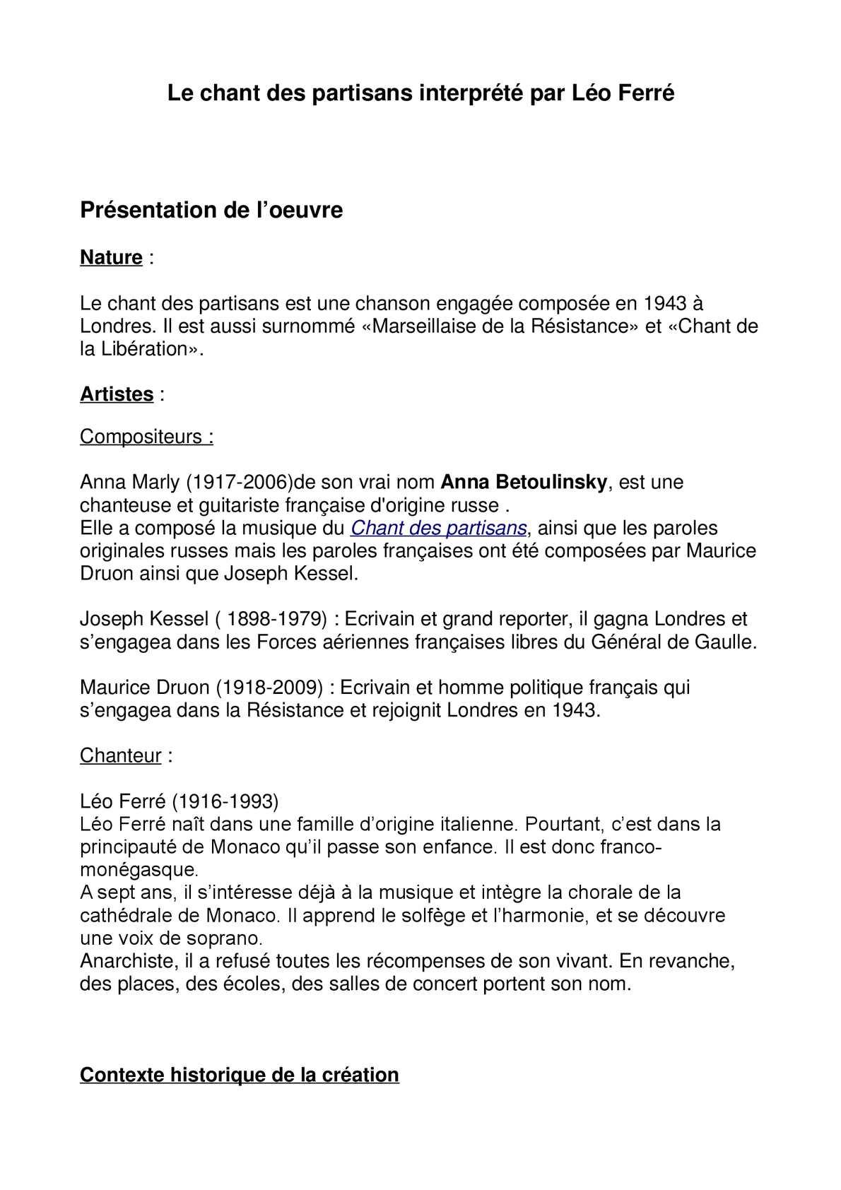 Calameo Histoire Des Arts Le Chant Des Partisans